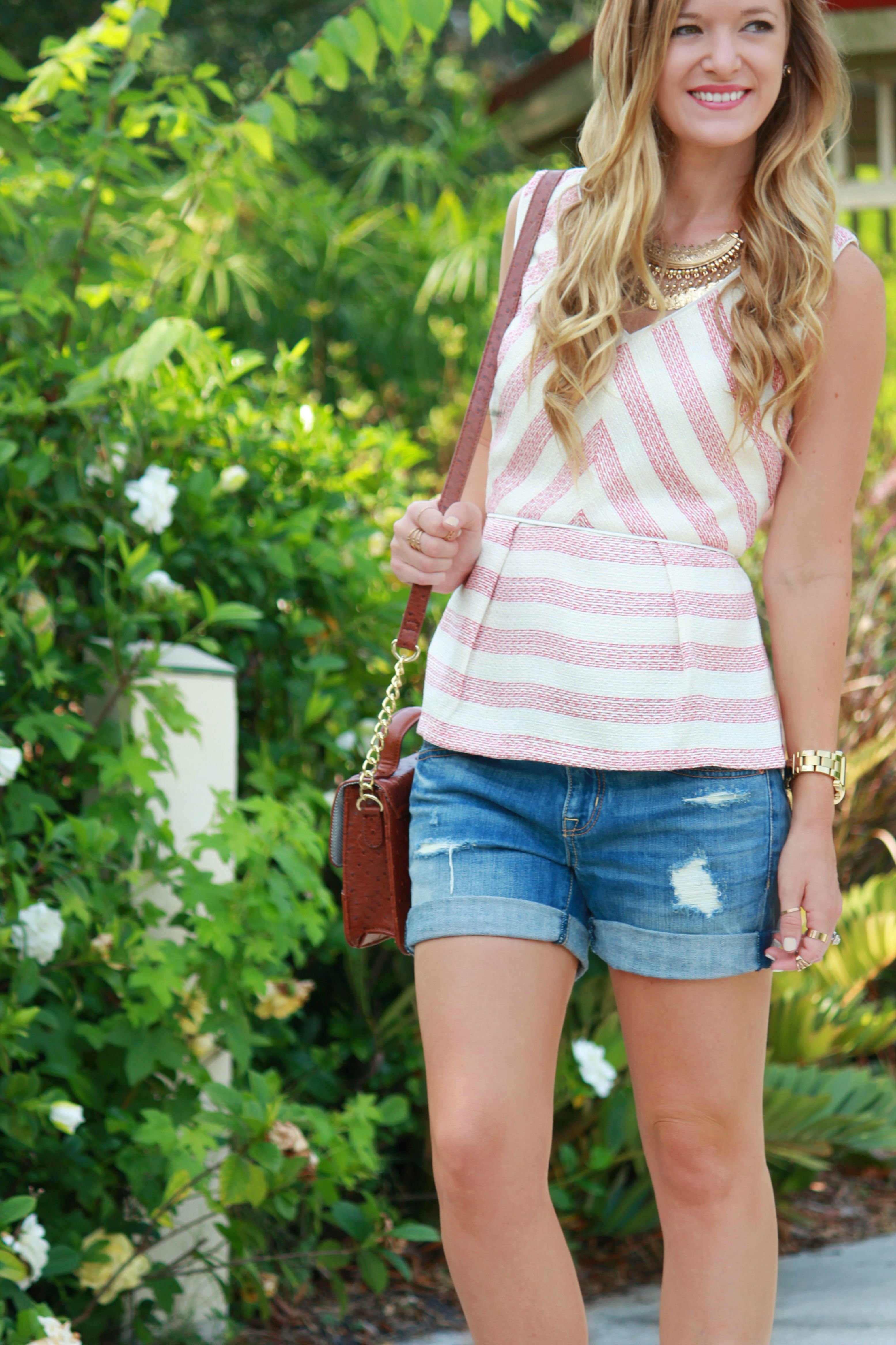 skies are blue top, gianni bini sandals, american eagle shorts, boyfriend shorts, peplum top, forever 21 coin necklace, cross body bag, spring outfit, casual outfit