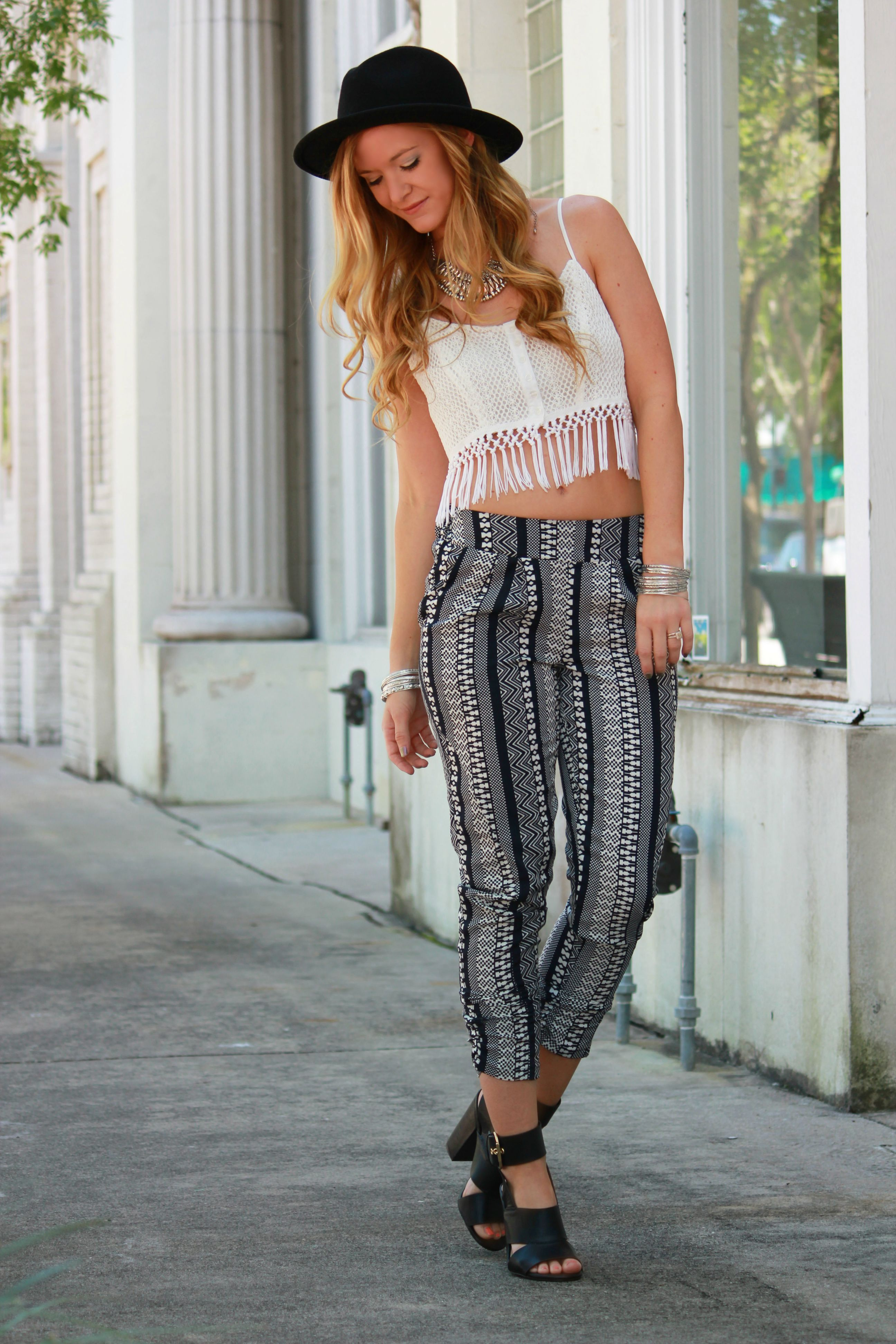 charlotte russe jogger pants, bethany monta collection, aeropostale crop top bethany monta top, boho chic, boho outfit, casual spring outfit
