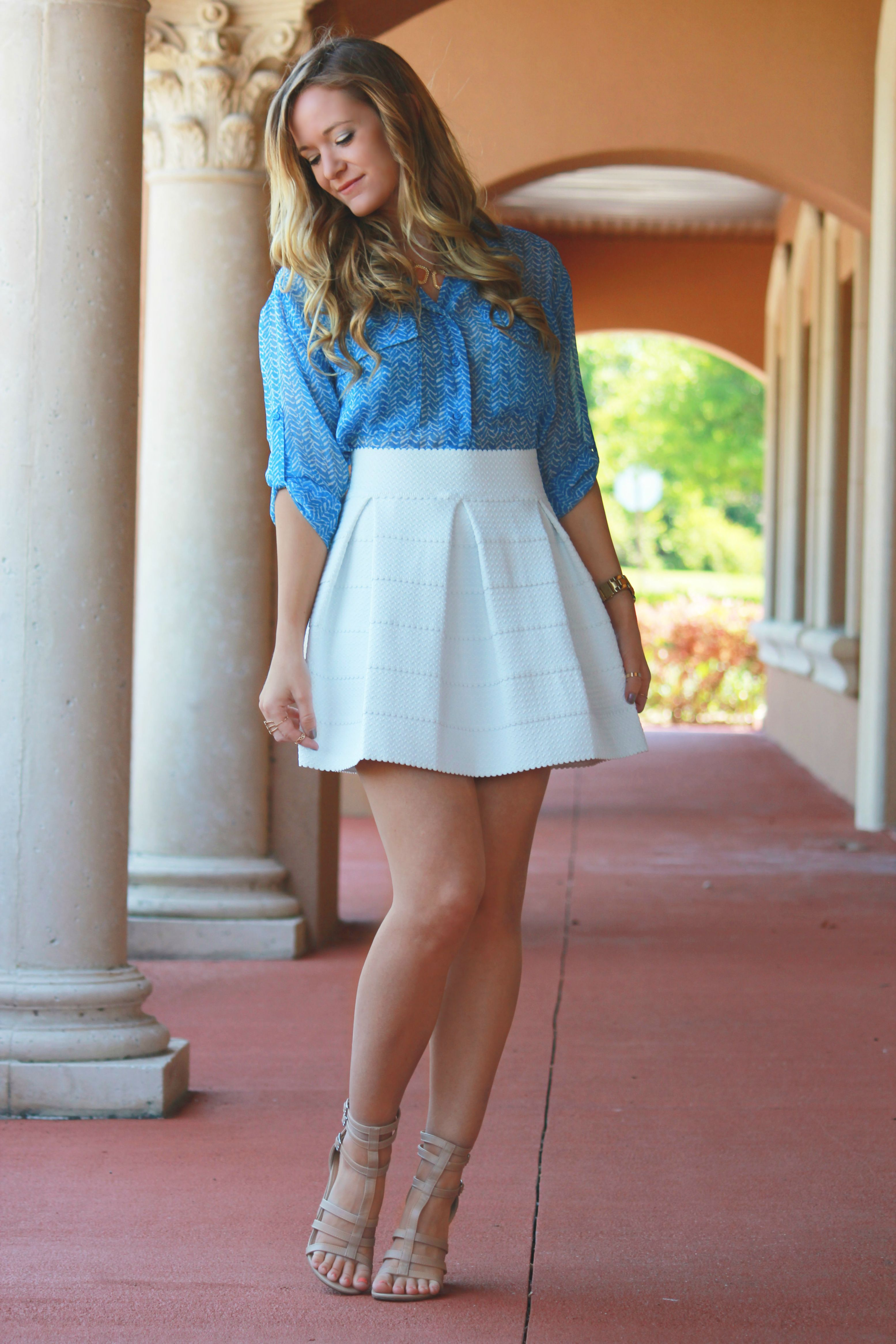 sophie and trey skirt, skater skirt, sophie and trey sandals, sophie and trey outfit, spring outfit, pastel outfit