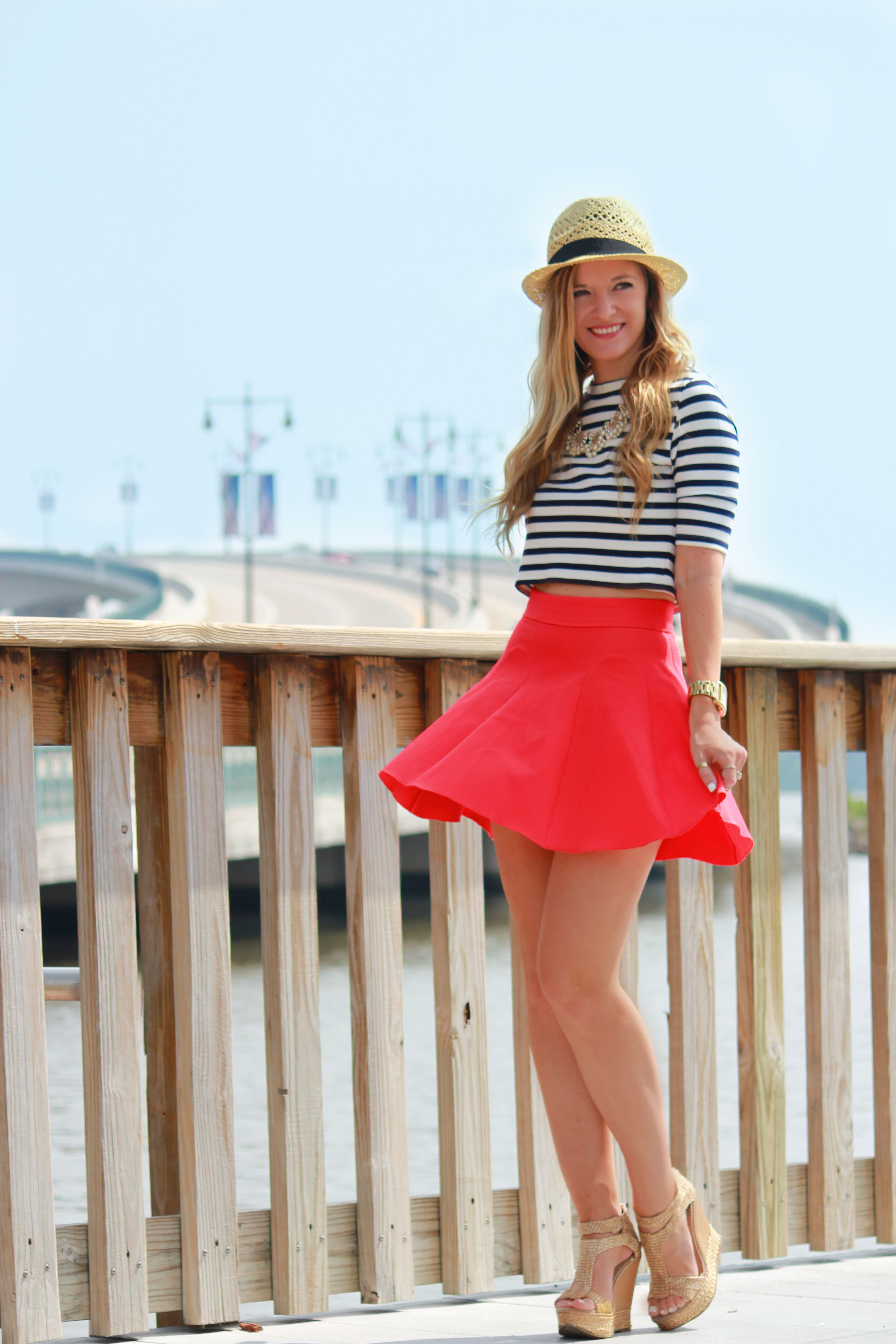 h&m crop top, h&m skirt, h&m fedora, red white and blue outfit, patriotic outfit, summer outfit