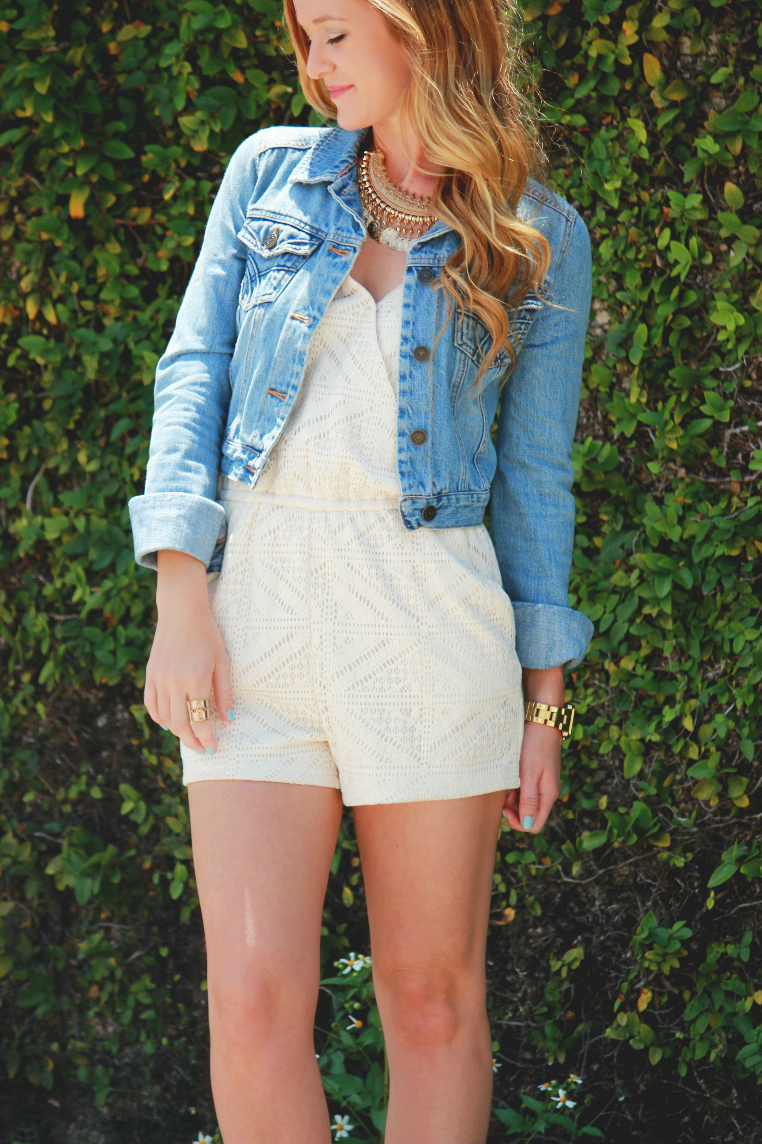 forever 21 romper, jean jacket, dsw boots, coin necklace, Michael Kors watch, casual spring outfit, spring fashion