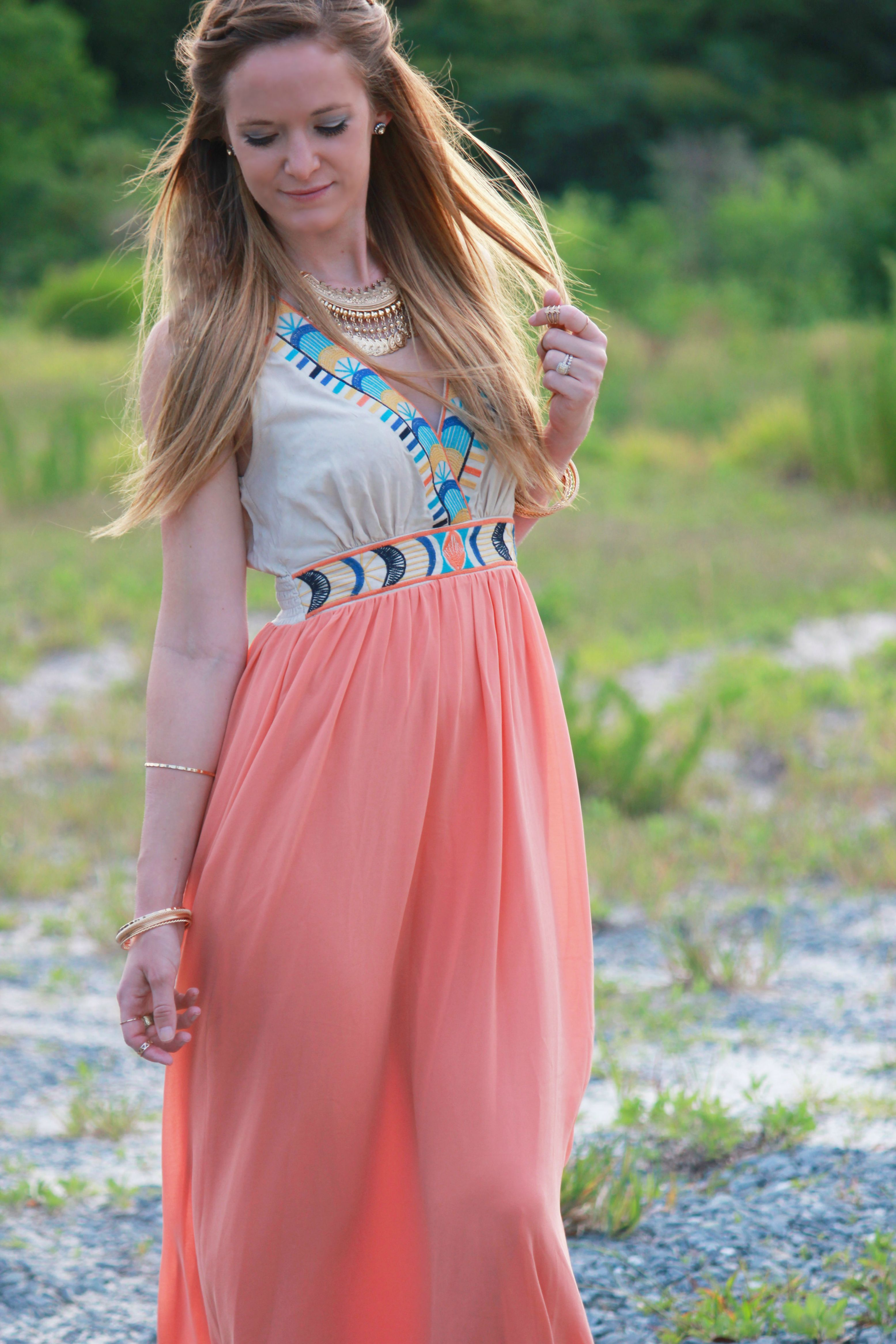 marshalls maxi dress, fab found, bohemian dress, boho dress, boho outfit, bohemian outfit, forever 21 coin necklace