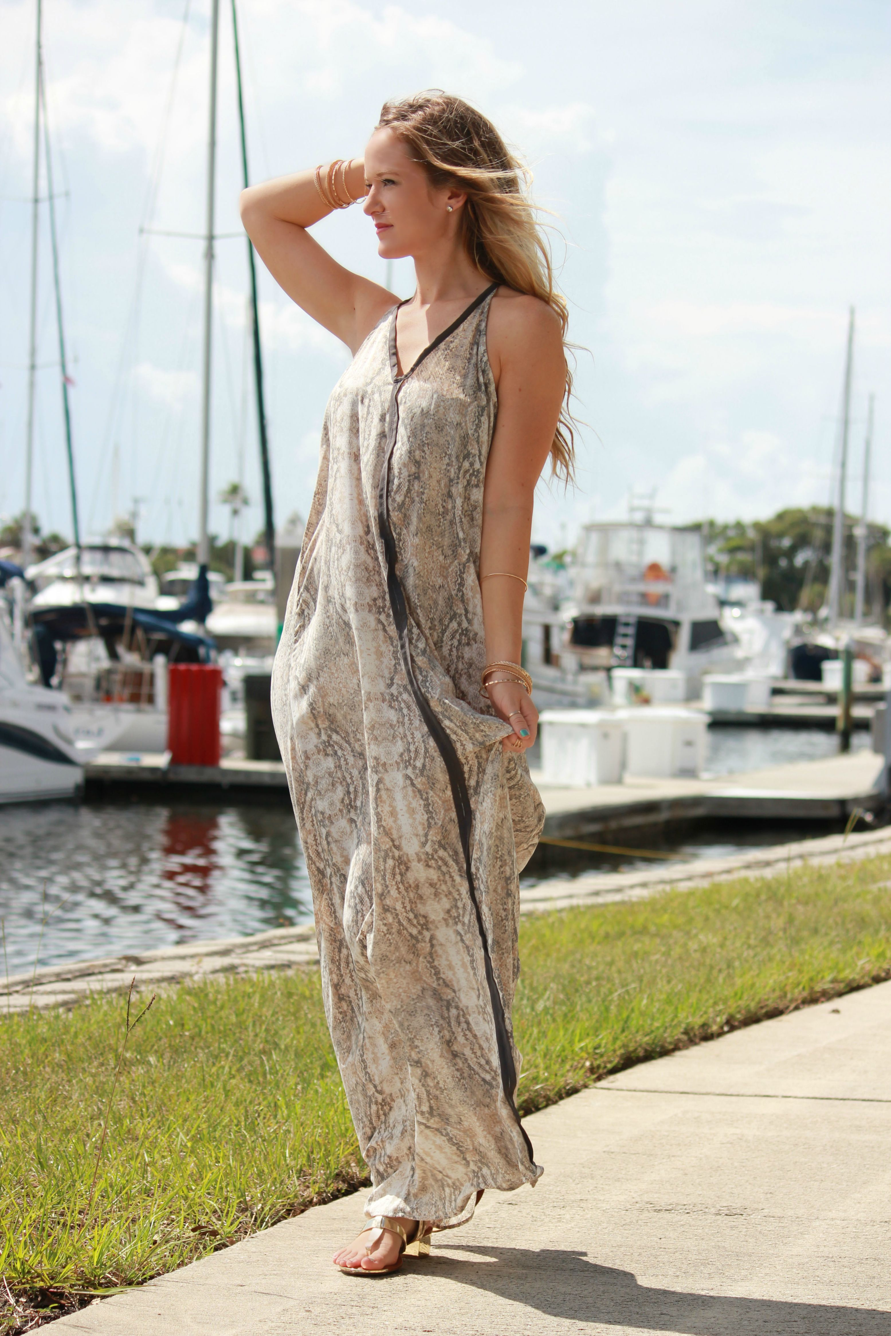 blush boutique maxi, gianni bini sandals, summer outfit, python maxi dress, casual outfit
