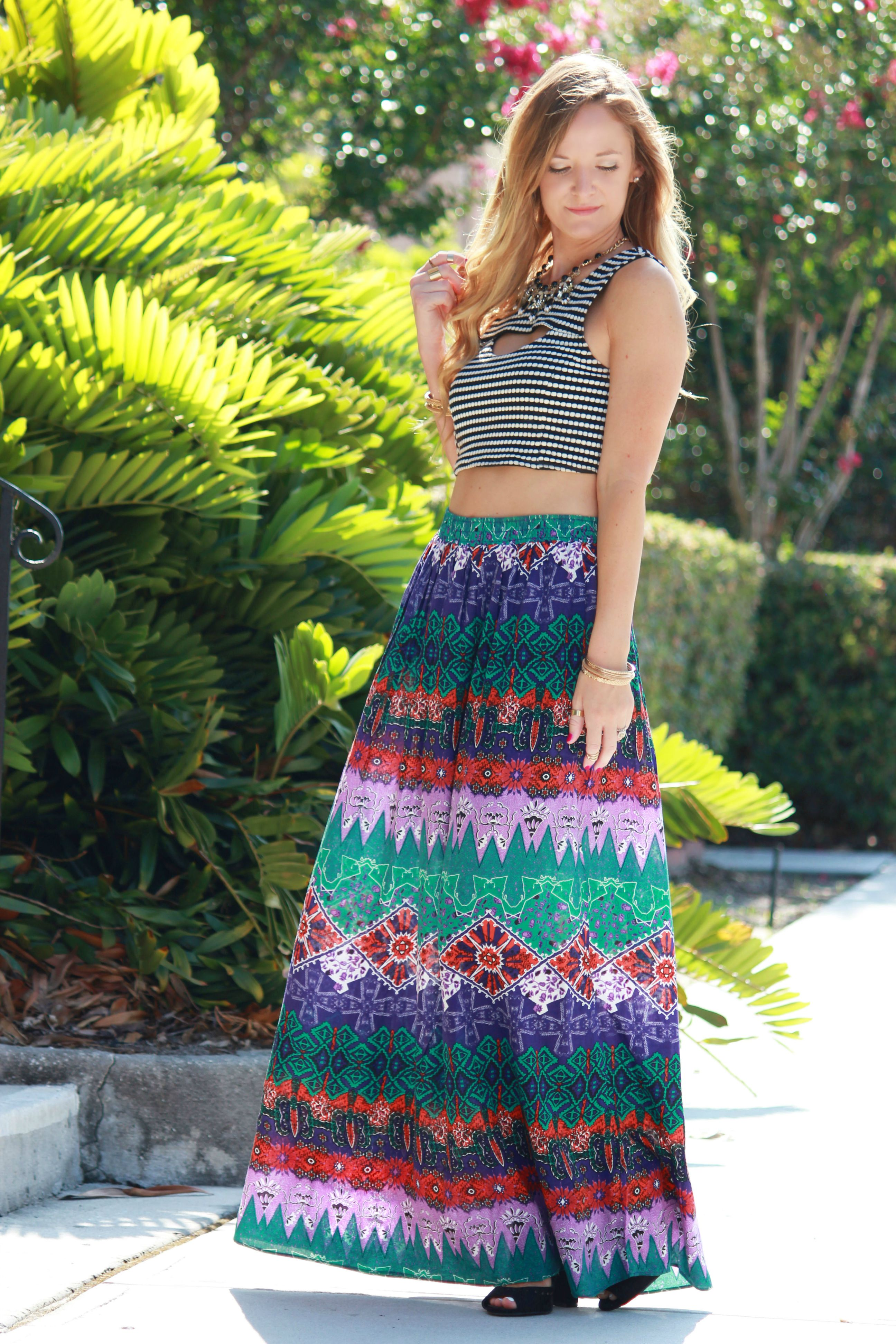 forever 21 skirt, tribal maxi skirt, boho outfit, crop top, crop top and skirt outfit, summer outfit, going out outfit, charlotte russe heels,