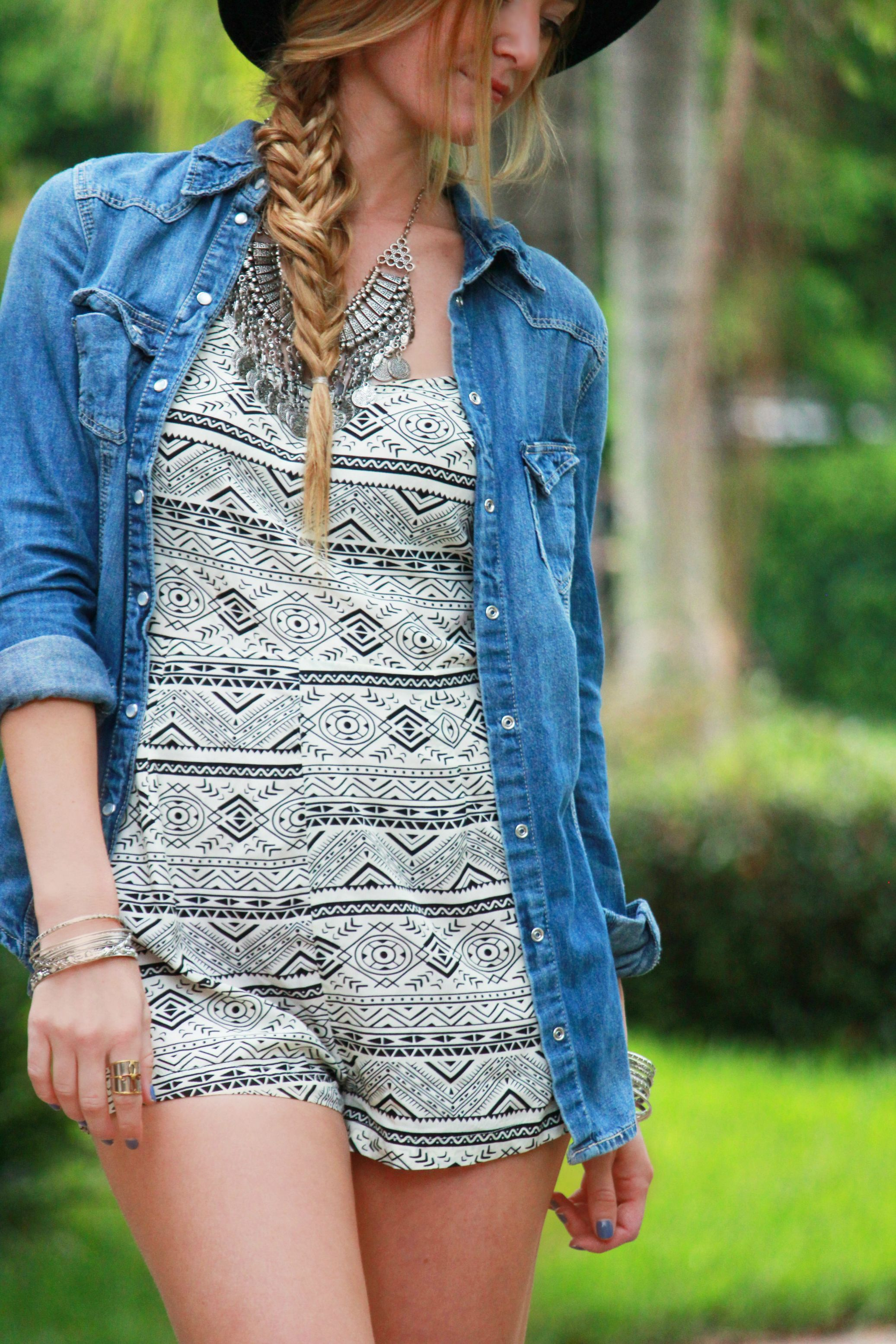 blush boutique romper, aztec romper, tribal romper, chambray shirt, target fedora, tjmaxx sandals, summer outfit, weekend outfit