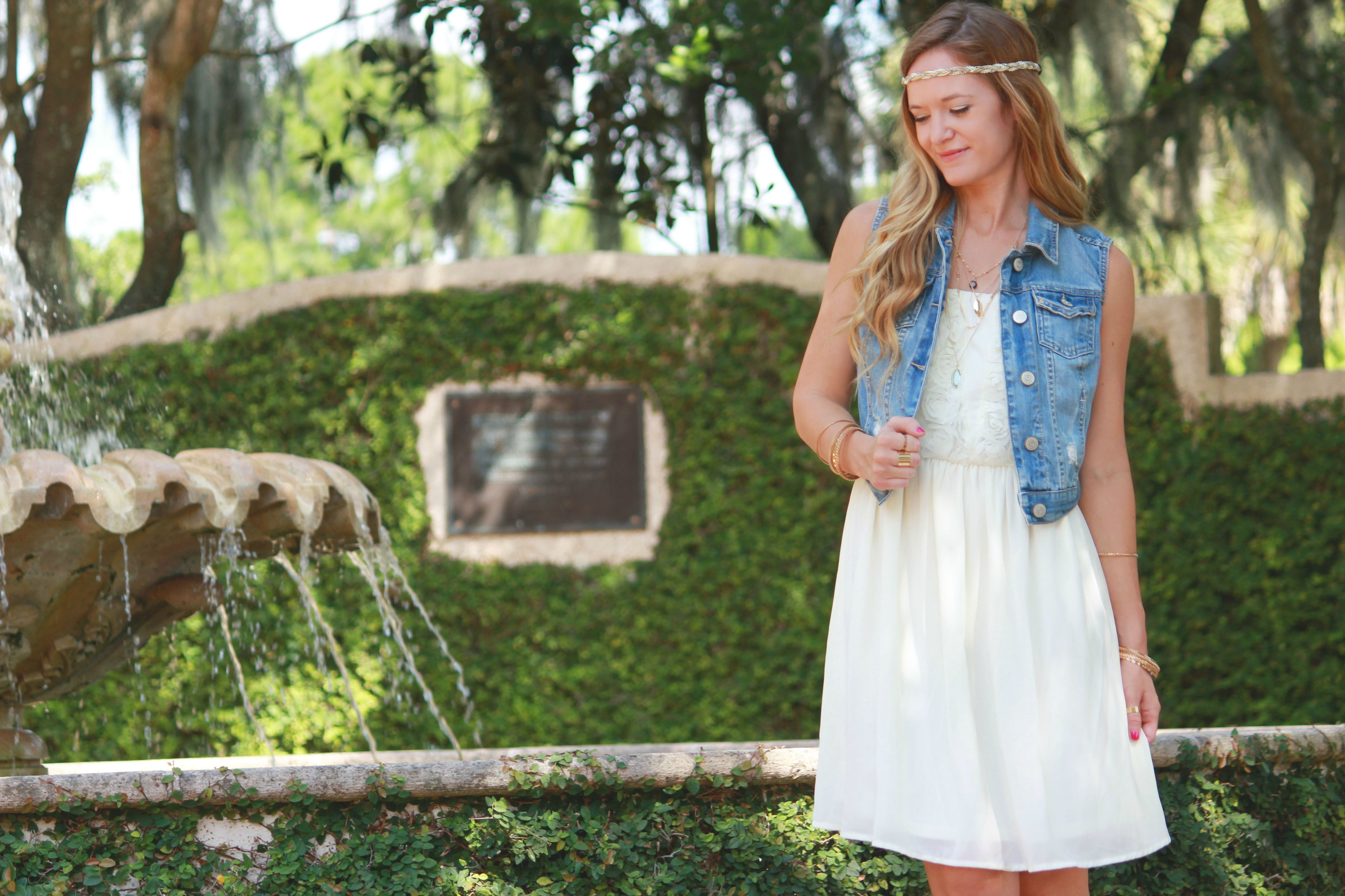 sugar love boutique dress, aeropostale vest, express necklace, dsw boots, summer outfit, white dress outfit,