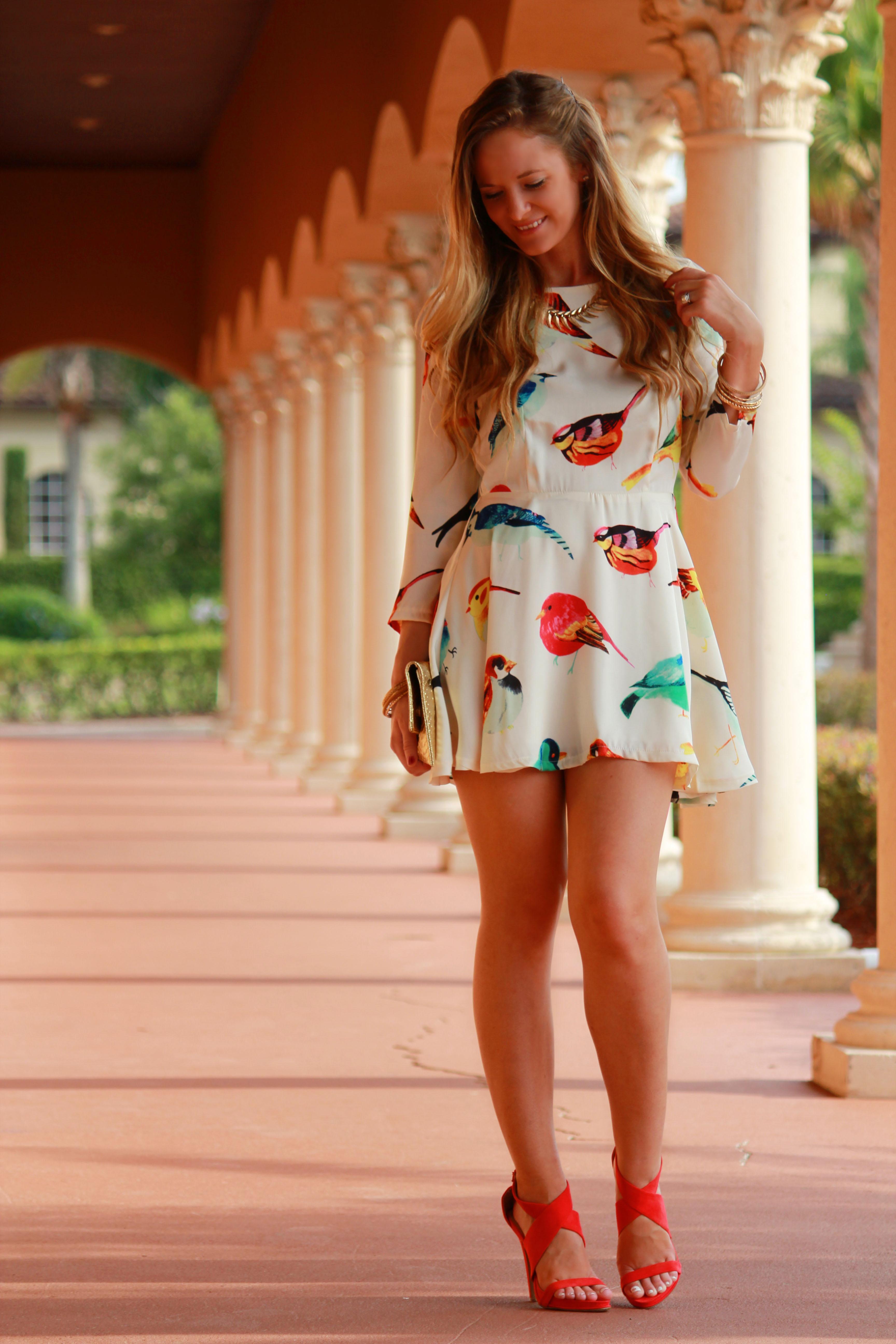 oasap dress, bird dress, forever 21 heels, red heels, gold clutch, summer outfit,