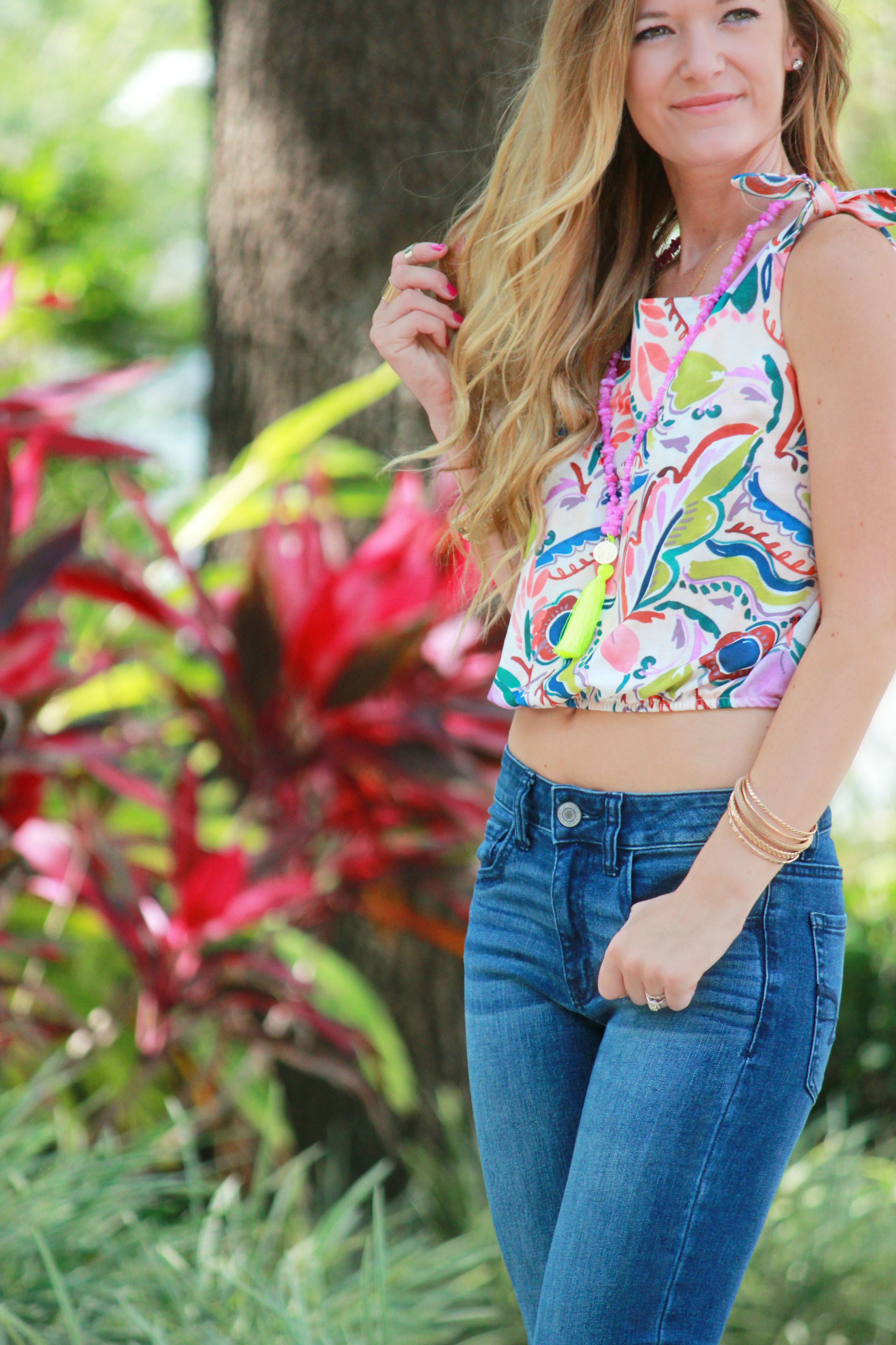 Zara top, American eagle jeans, bracha necklace, tjmaxx wedges, summer outfit, colorful crop top, crop top outfit