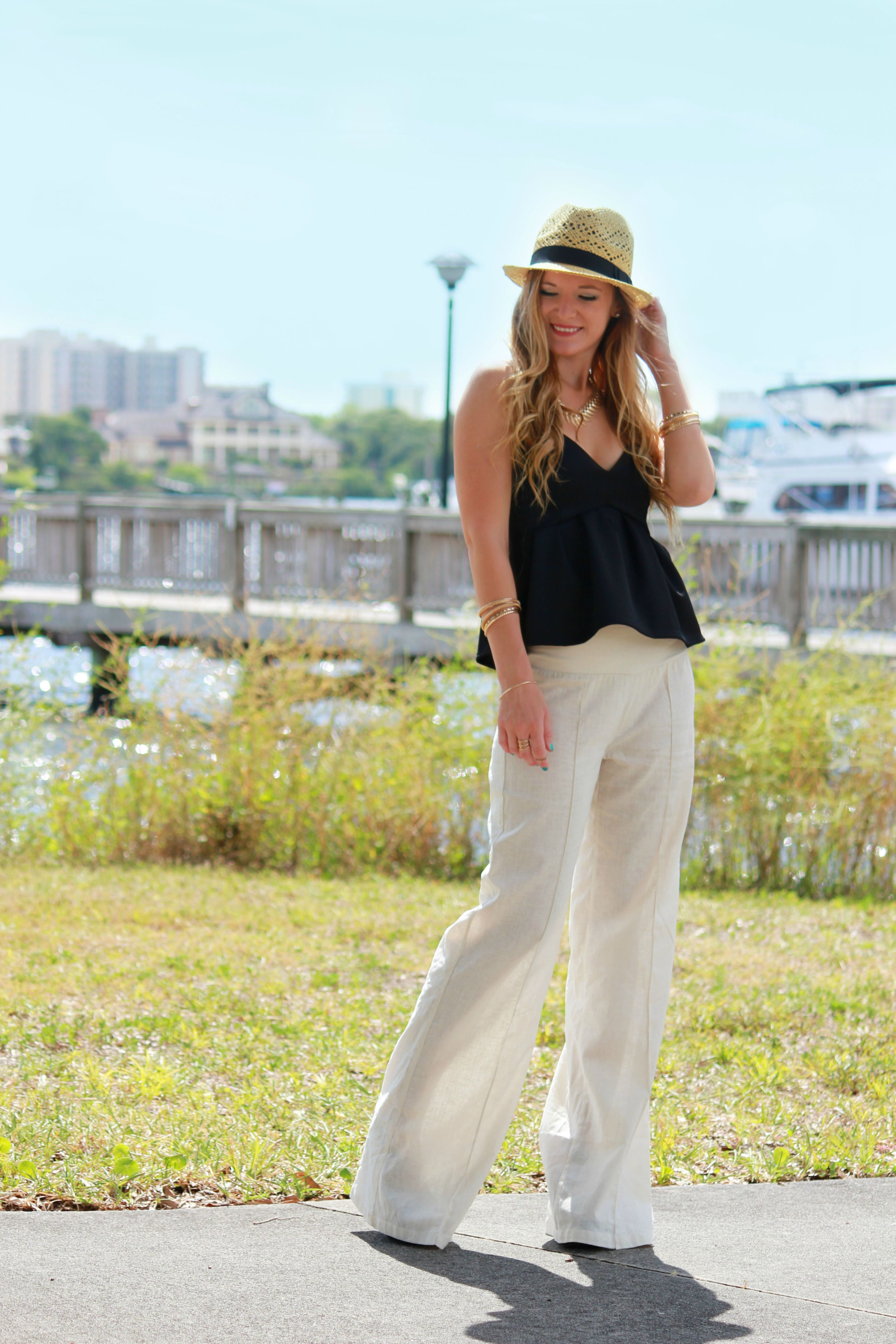 arden b linen pants, linen pants, peplum top, arden b peplum top, forever 21 hat, gold jewelry, vacation outfit, summer outfit