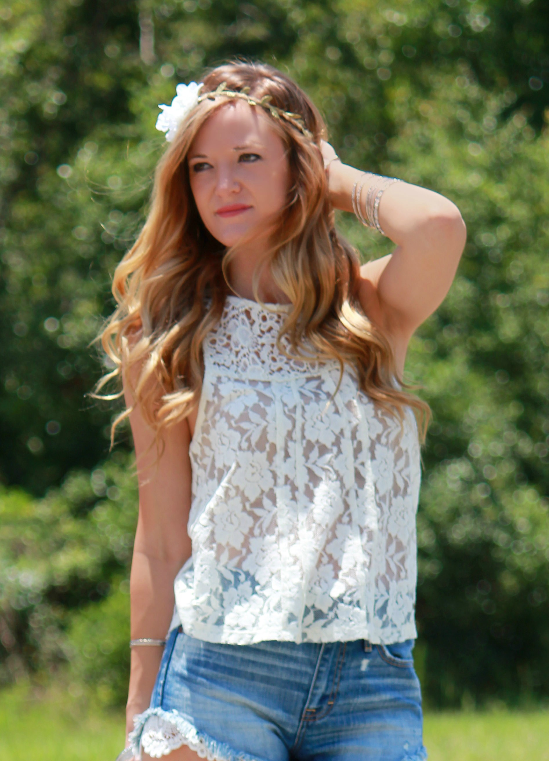 abercrombie top. abercrombie shorts, lace top, lace shorts, lace and jeans shorts, summer outfit, summer casual outfit, flower headband, claries flower headband, dsw boots