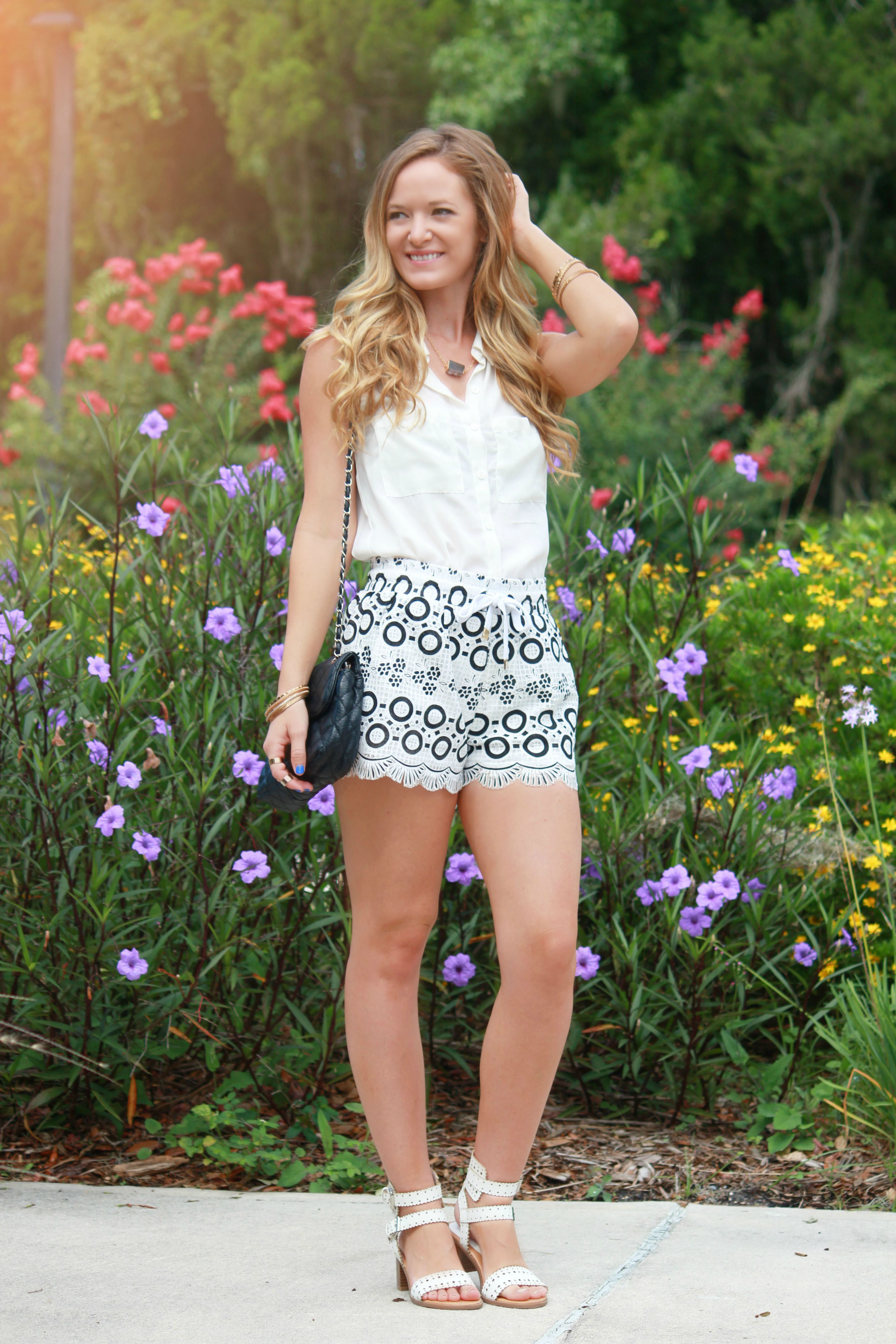 all white outfit, black and white outfit, ami clubwear shorts, ami clubwear sandals, bracha necklace, casual summer outfit