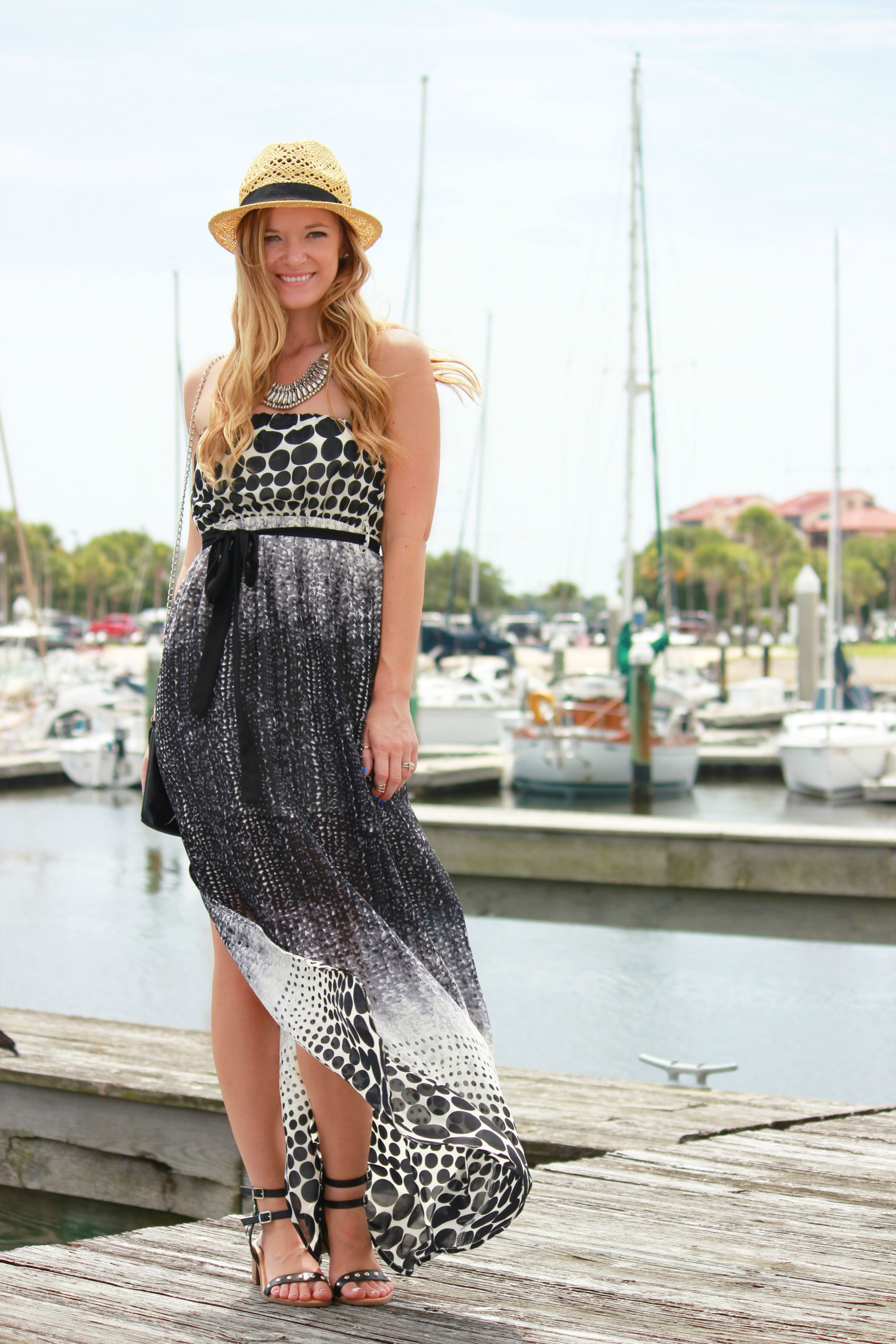sugar love boutique maxi dress, black and white maxi dress, summer outfit, vacation outfit, studded sandals, boat outfit, forever 21 hat