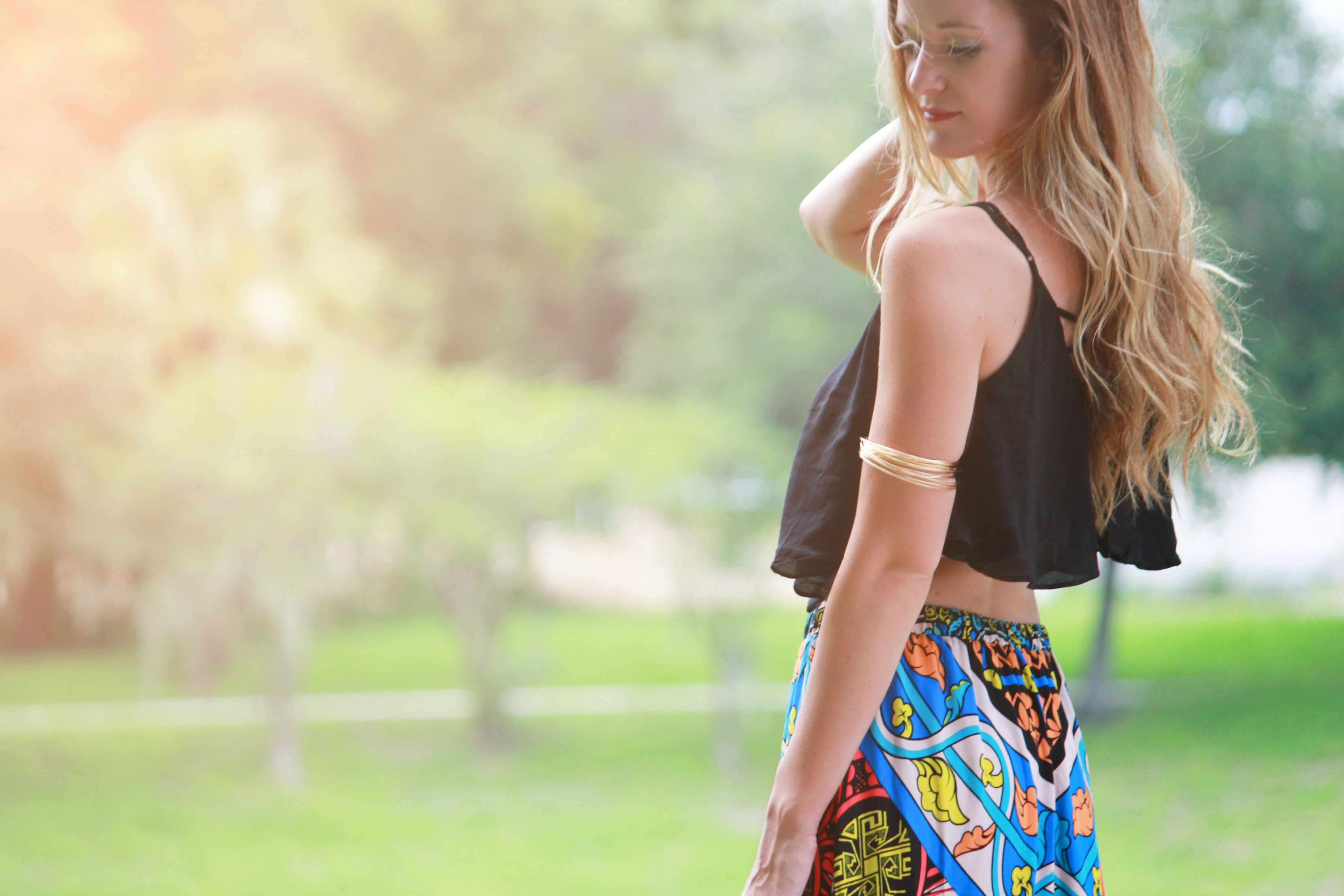 Jane maxi skirt, Colorful maxi skirt, boho outfit, boho chic, arm band outfit, summer outfit, Steve Madden Wedges