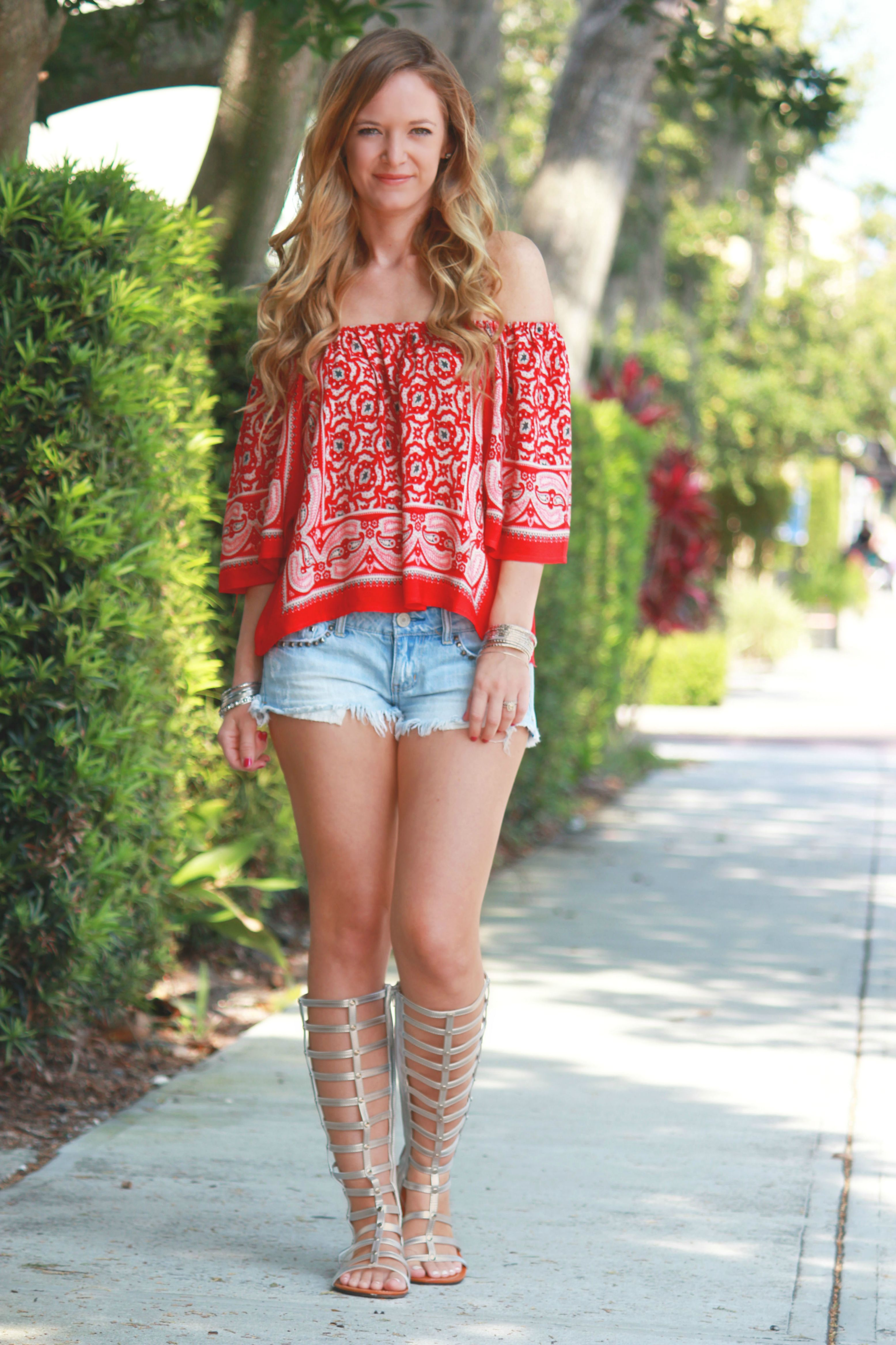 forever 21 top, peasant top, american eagle shorts, knee high gladiator sandals, ami clubwear, summer outfit, 4th of july outfit