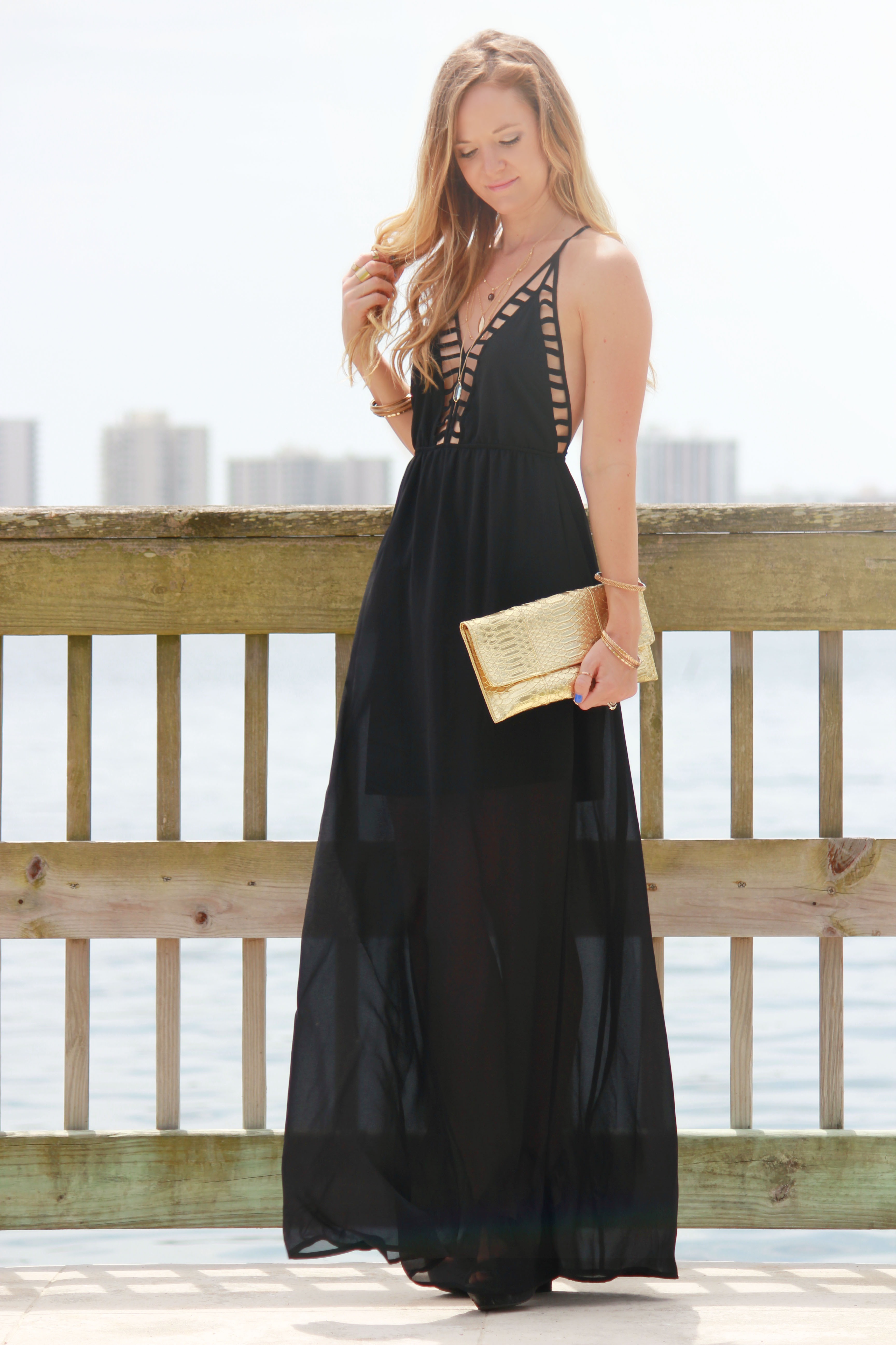 monicas closet essentials maxi dress, black maxi dress, express necklace, layred necklace, gold clutch, summer outfit, summer maxi