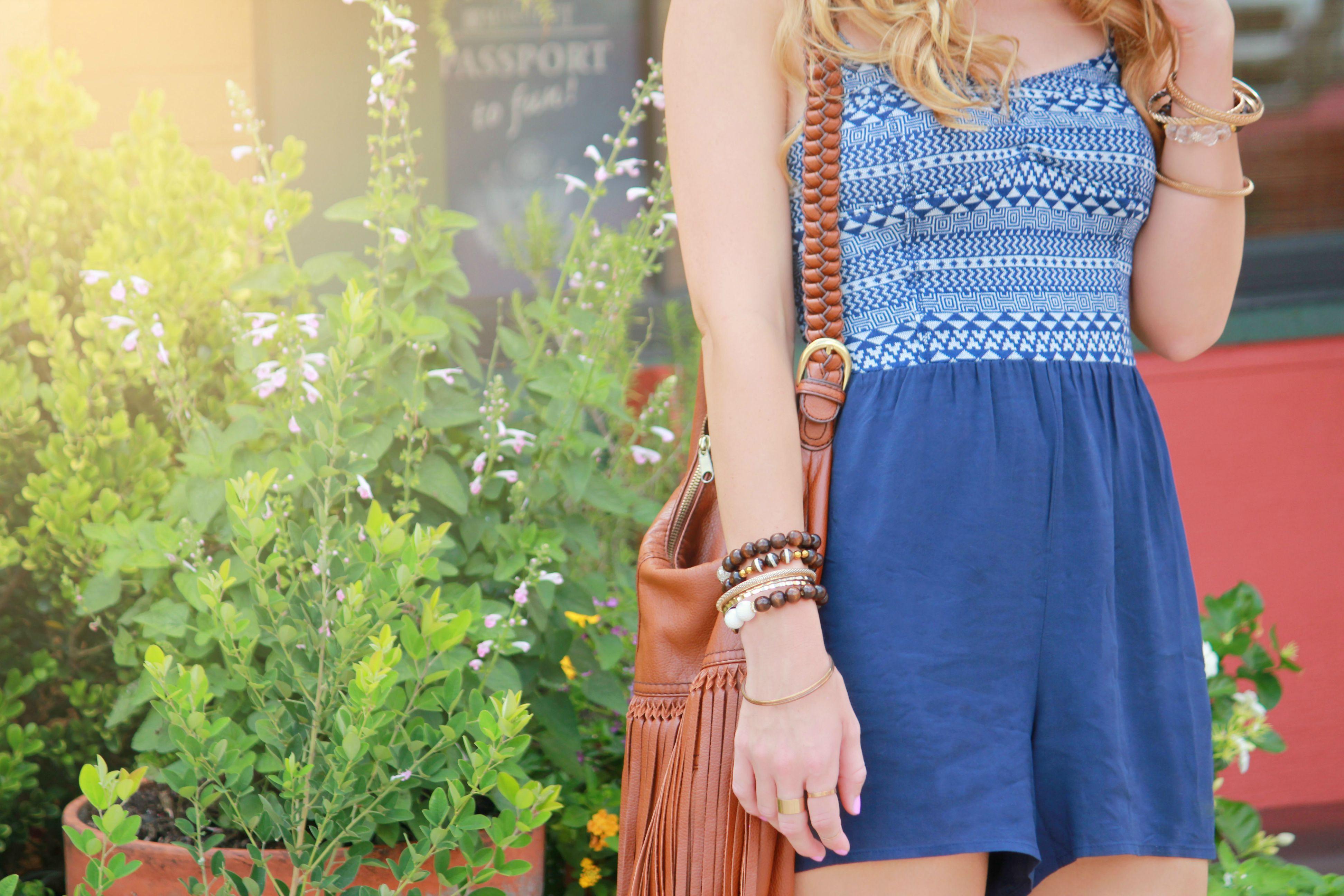 aeropostale romper, aeropostale outfit, aldo sandals, h&m fringe bag, charlotte russe hat, summer fashion, summer outfit