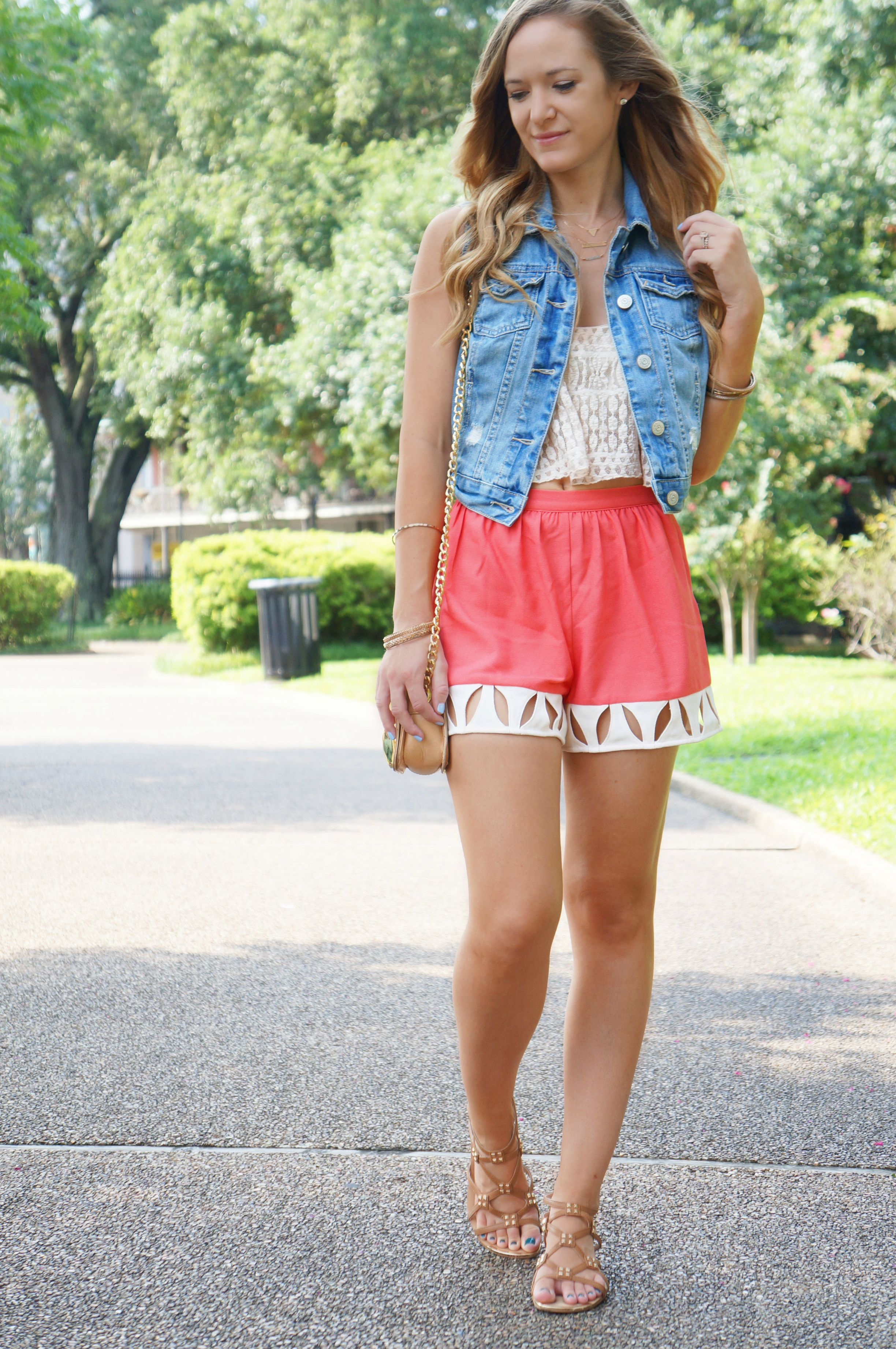 aeropostale vest, bastion & co nyc, sugar lips shorts, marshalls sandals, marshalls top, badgley mischka bag