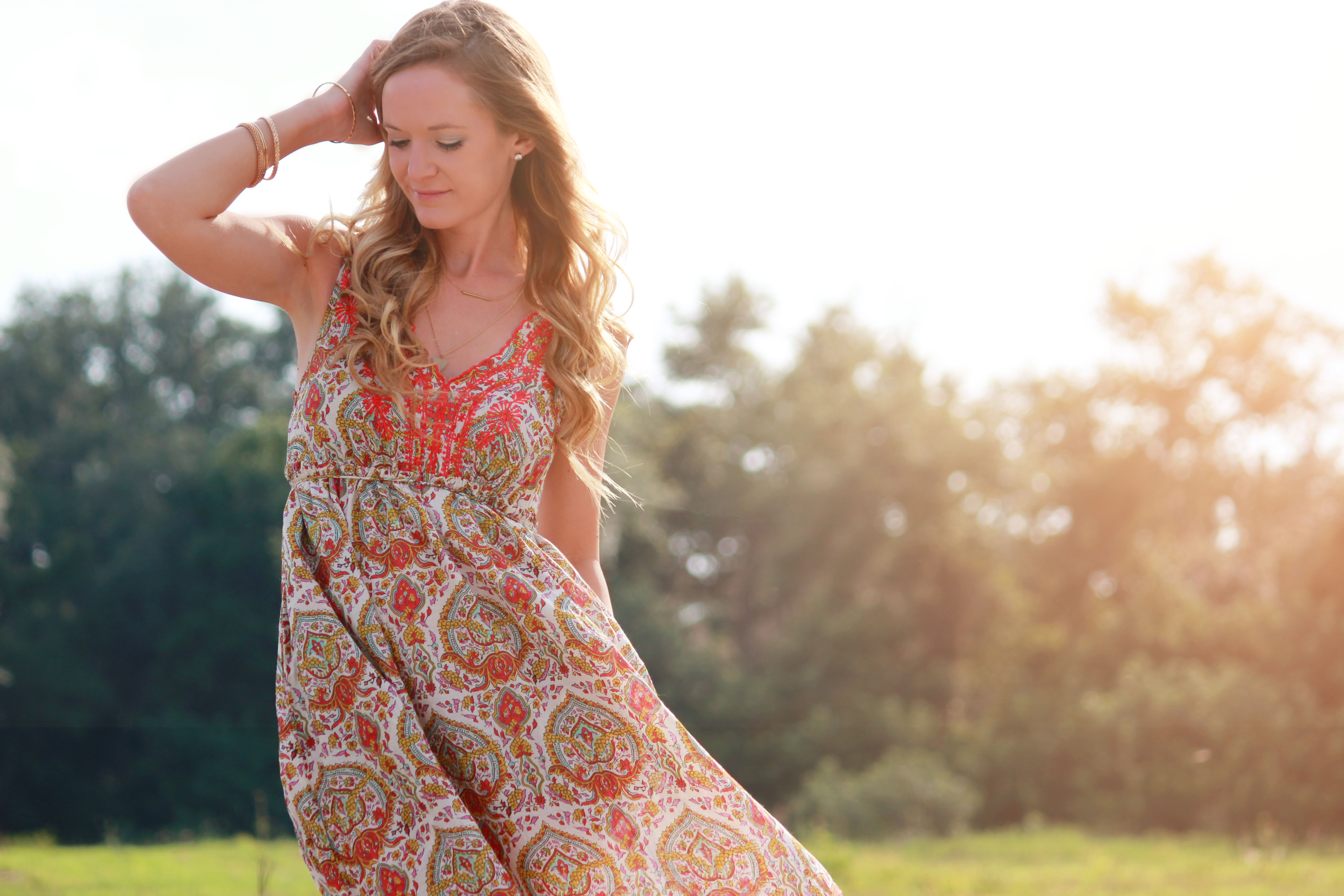 eshakti dress, patterned maxi dress, embroidered maxi, boho chic outfit, gianni bini sandals, summer outfit, casual summer outfit