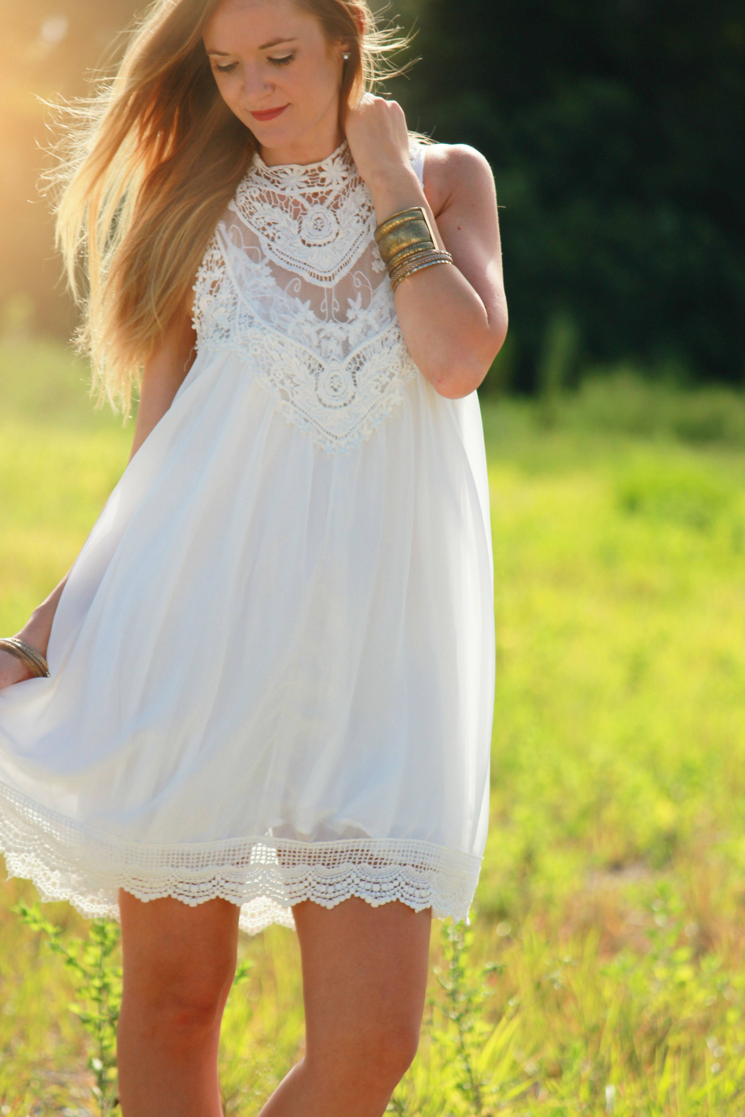 lookbook store dress, chiffon and lace dress, boho chic outfit, boho dress, white and lace dress, dsw booties, summer outfit