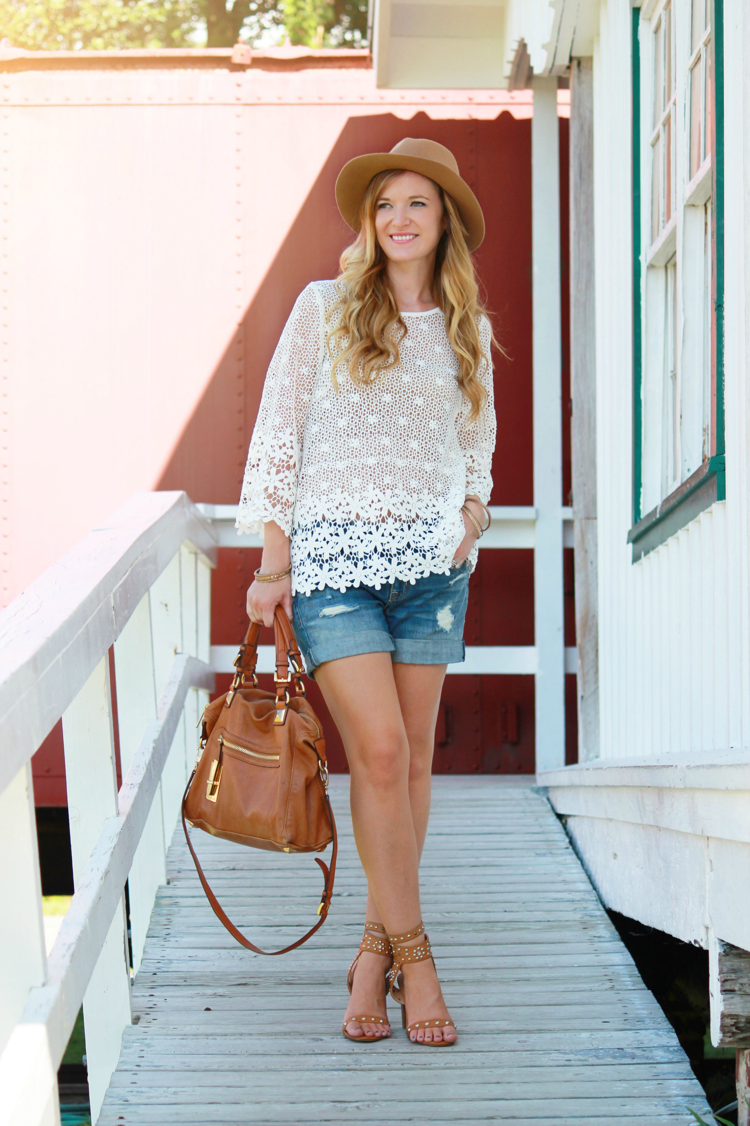 crochet top, sugar lips top, floral rop, american eagle shorts, charlotte russe heels, michael kors bag, fedora outfit, casual summer outfit