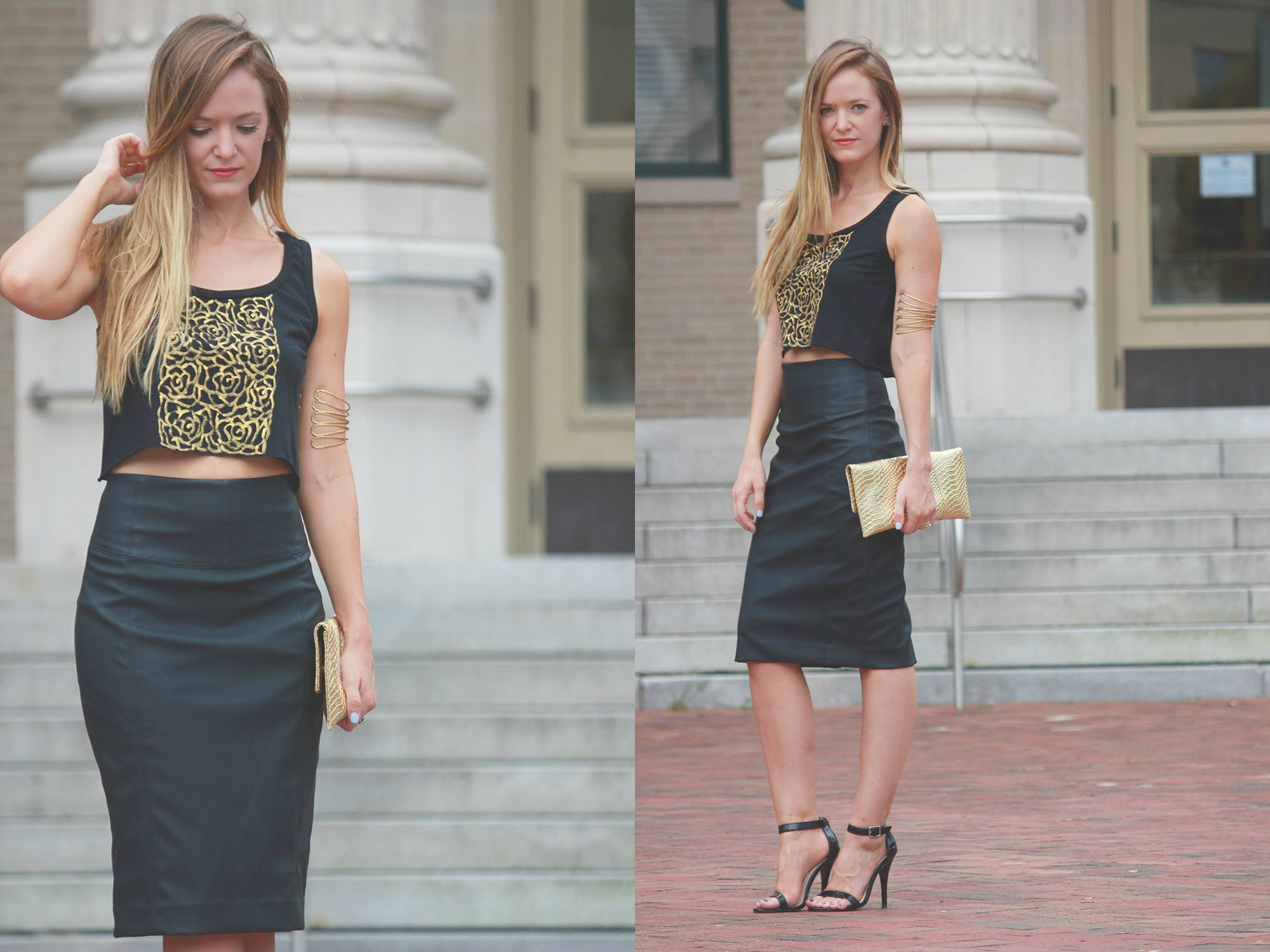 Wear the paint, black crop top, express skirt, leather pencil skirt, free people arm cuff, free people armband, going out outfit, date night outfit