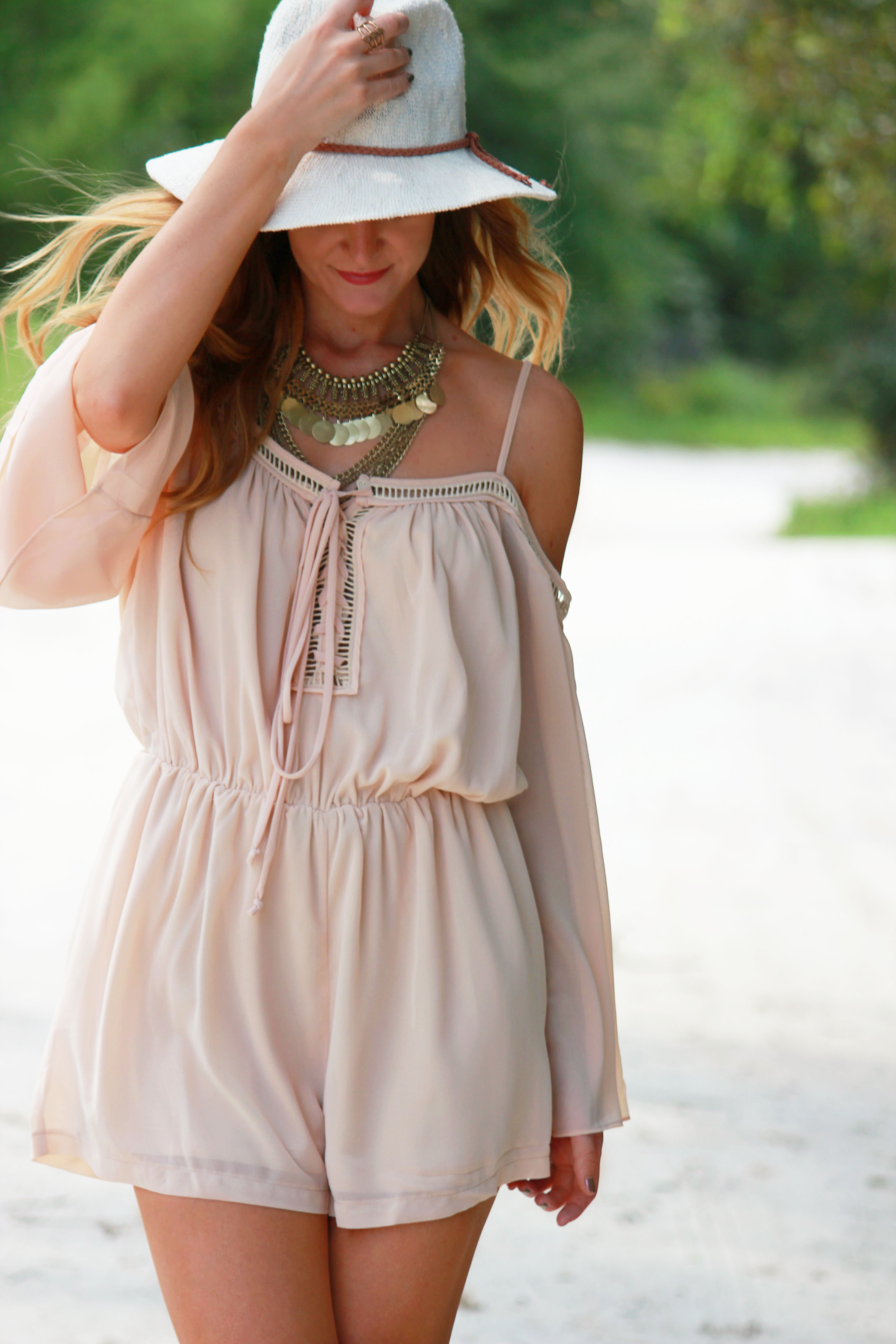 sugar love boutique romper, boho romper, boho chic outfit, bohemian romper, forever 21 necklace, coin necklace, pacsun hat, kendall and kylie collection, dsw boots