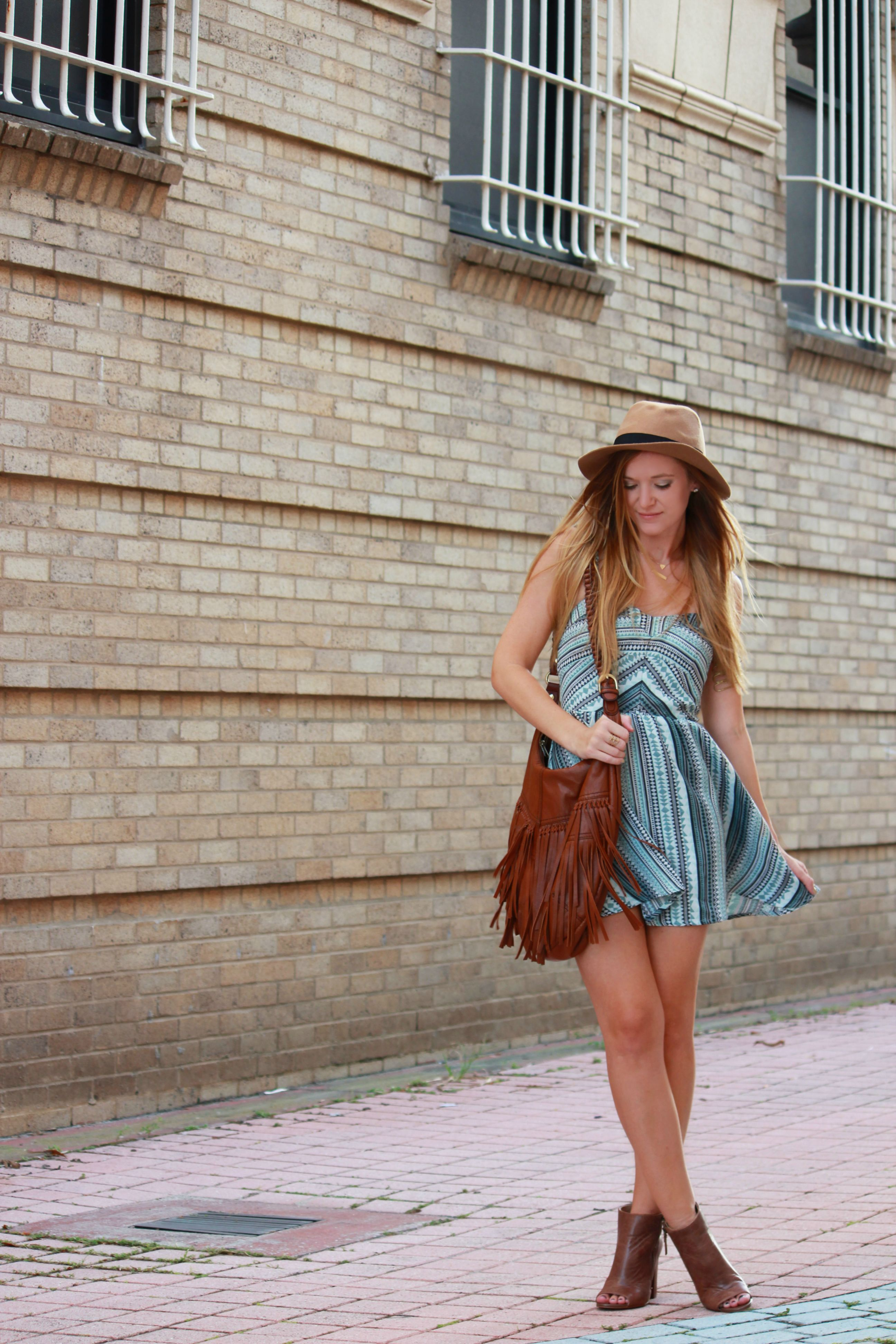 aeropostale dress, striped sundress, layered and long necklace, dsw boots, open toe booties, fringe bag, fringe purse, casual summer outfit, fall transition outfit