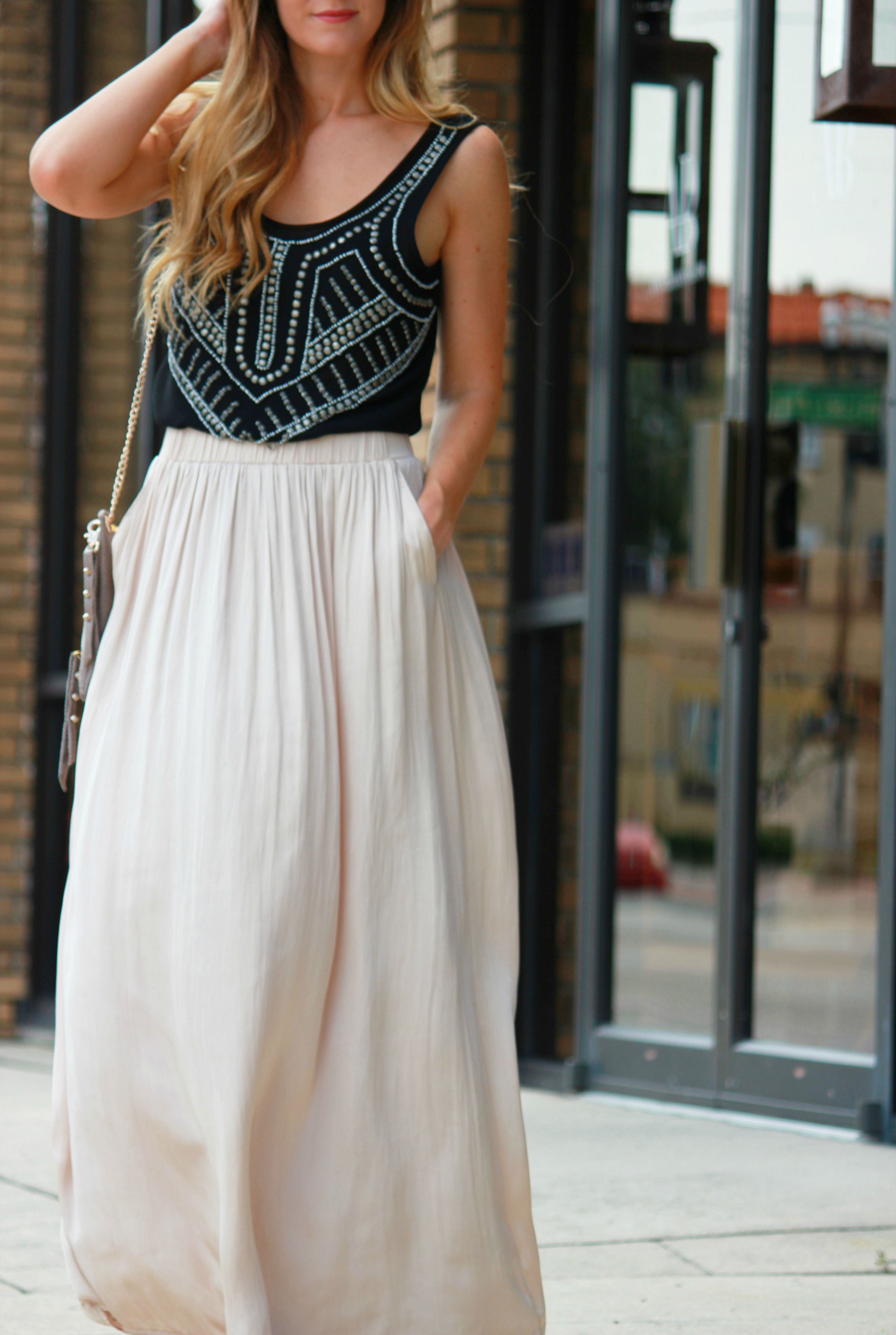 h&m skirt, Satin maxi, embelished top, urban outfitter top, urban decay bag, crossbody bag, gianni bini sandals, sold sandals, casual summer outfit, gold maxi
