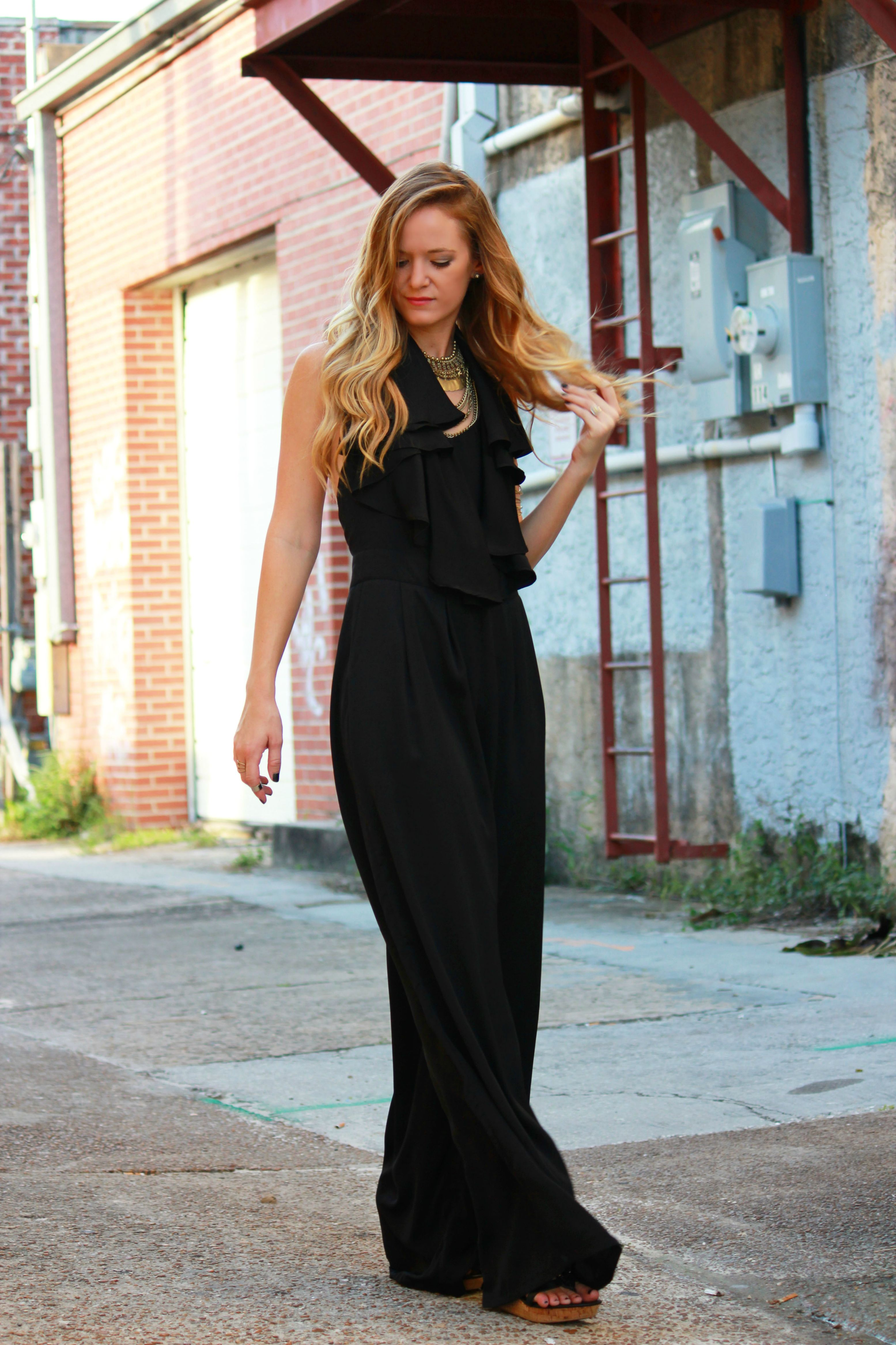 black jumpsuit, ruffle jumpsuit, sophie and trey, tjmaxx wedges, forever 21 necklace, coin necklace, date night outfit, going outfit, concert outfit, edgy outfit