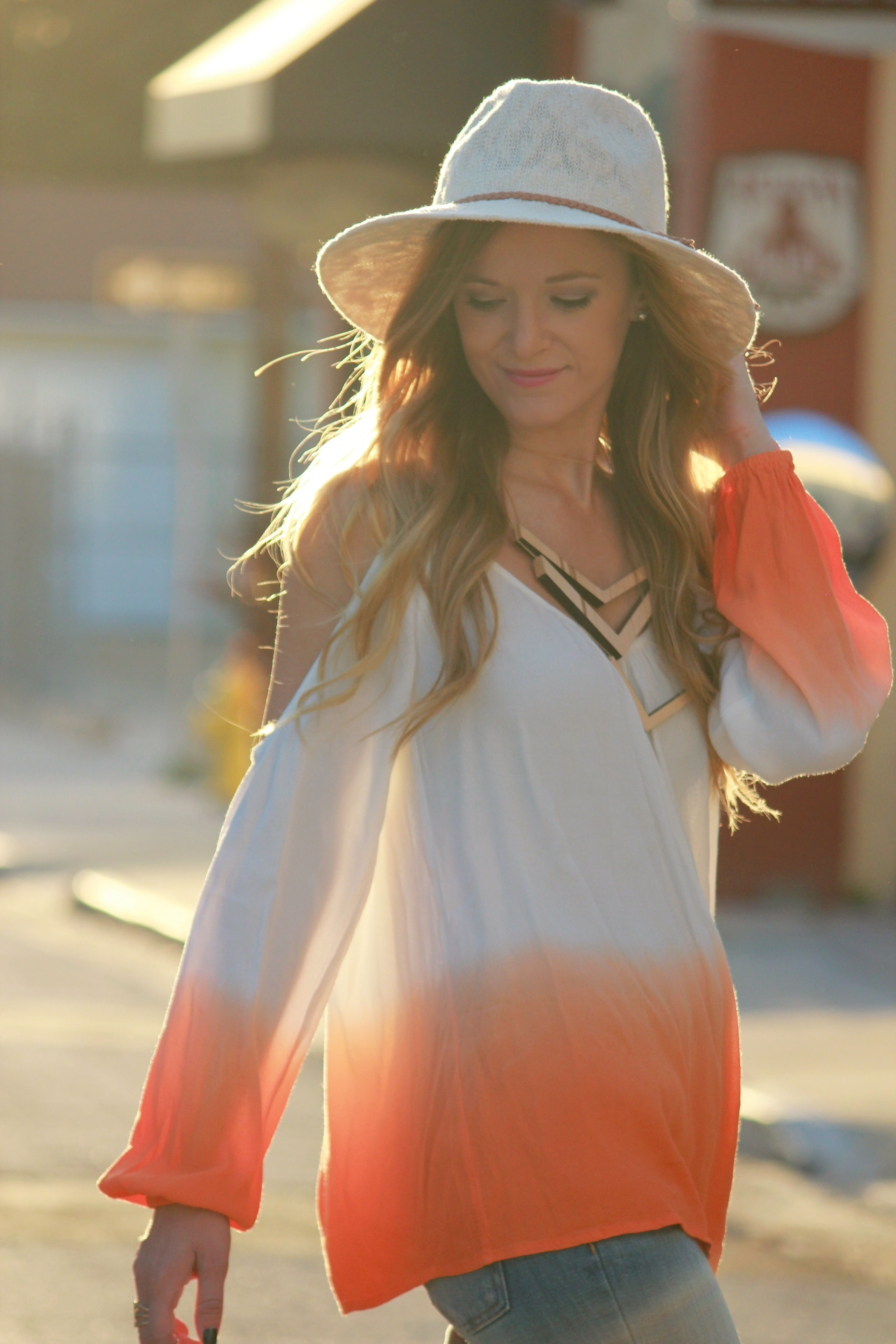 opened shoulder top, off the shoulder top, orange dipped top, pacsun hat, Kendall and kylie collection, bound necklaces, american eagle jeans, flared jeans, boho outfit, boho chic outfit, fall transition outfit, casual fall outfit