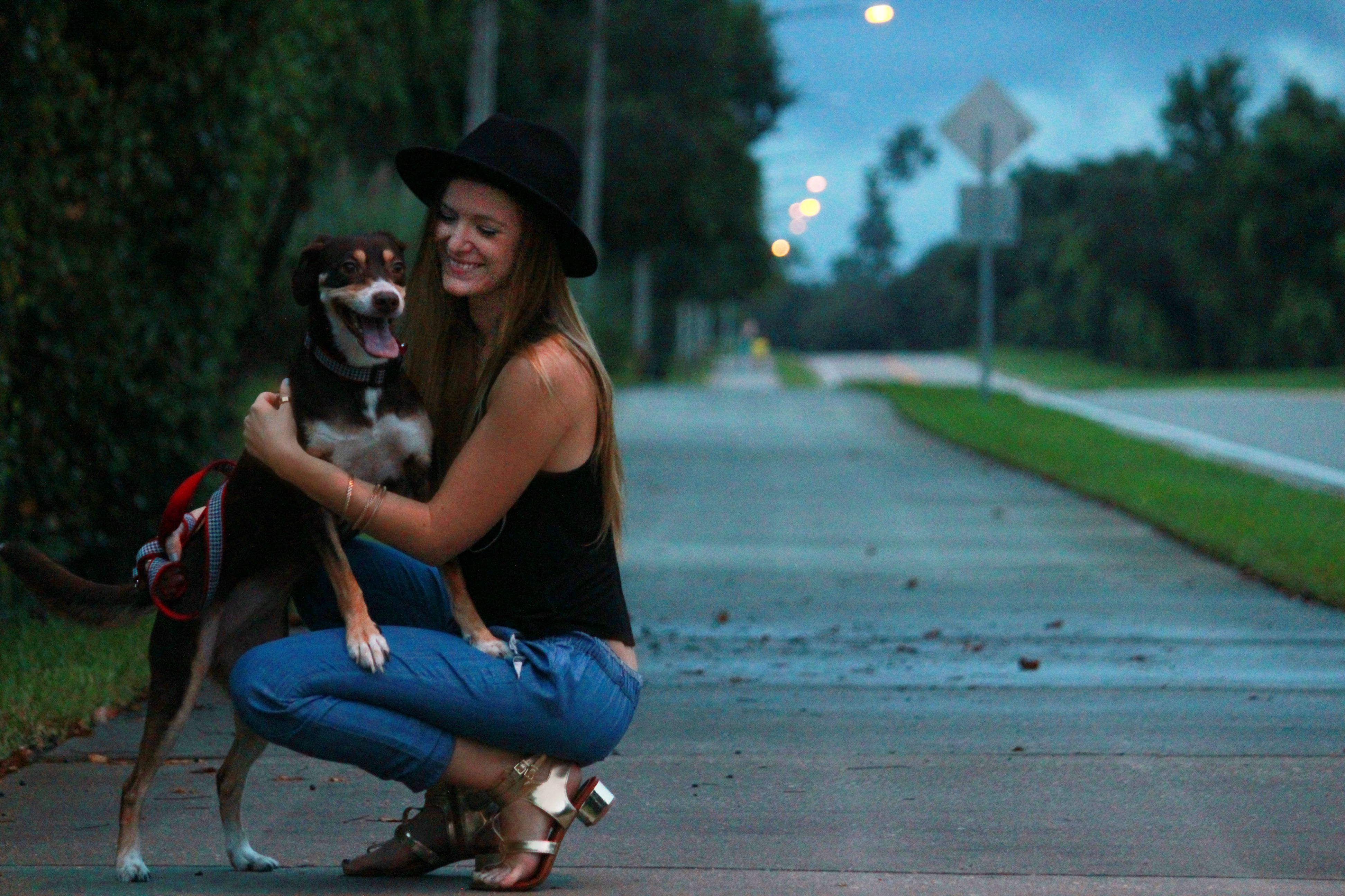orlando/ florida style blogger styling chambray joggers from forever 21 and gianni bini sandals while walking australian shepard mix