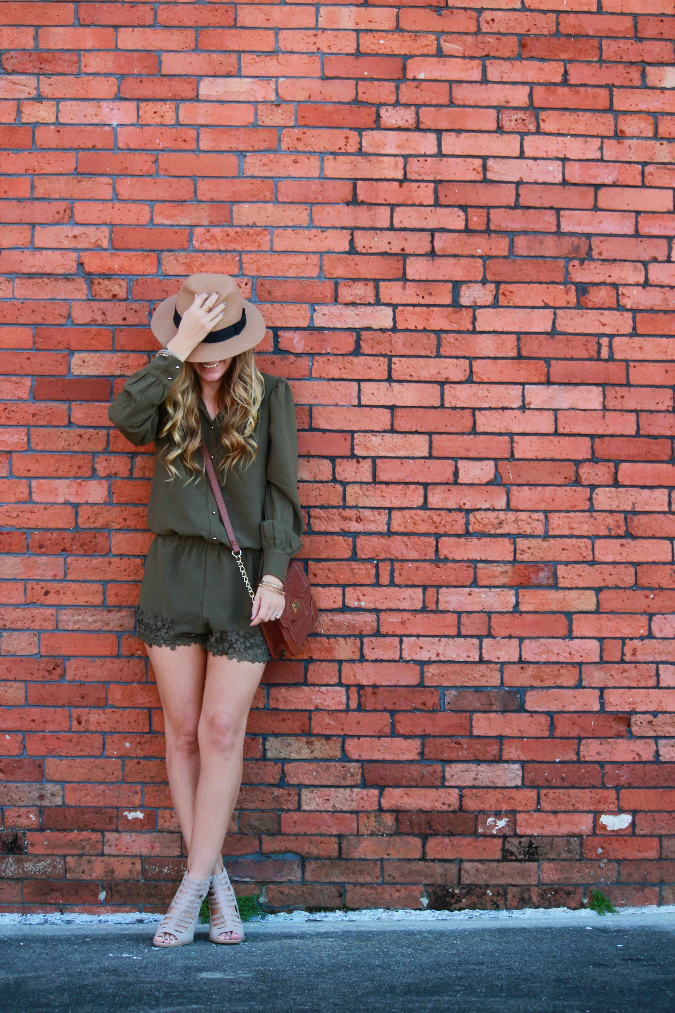 orlando/ florida fashion blogger styles olive romper from pink blush with tjmaxx booties and crossbody bag for a casual fall outfit