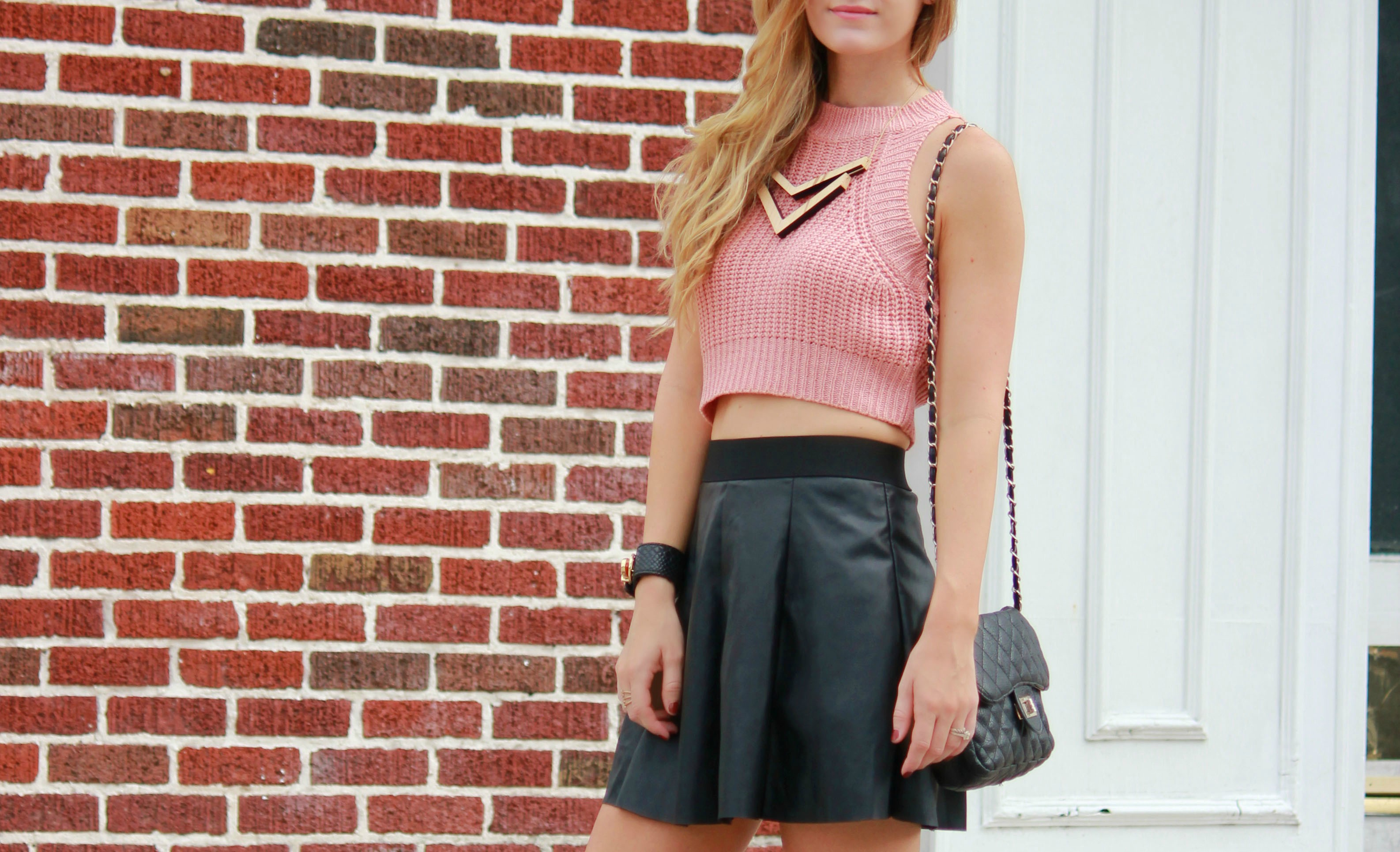 florida, orlando blogger styles knit crop and leather skater skirt from forever 21 with charlotte russe lace up heels for a date night fall outfit