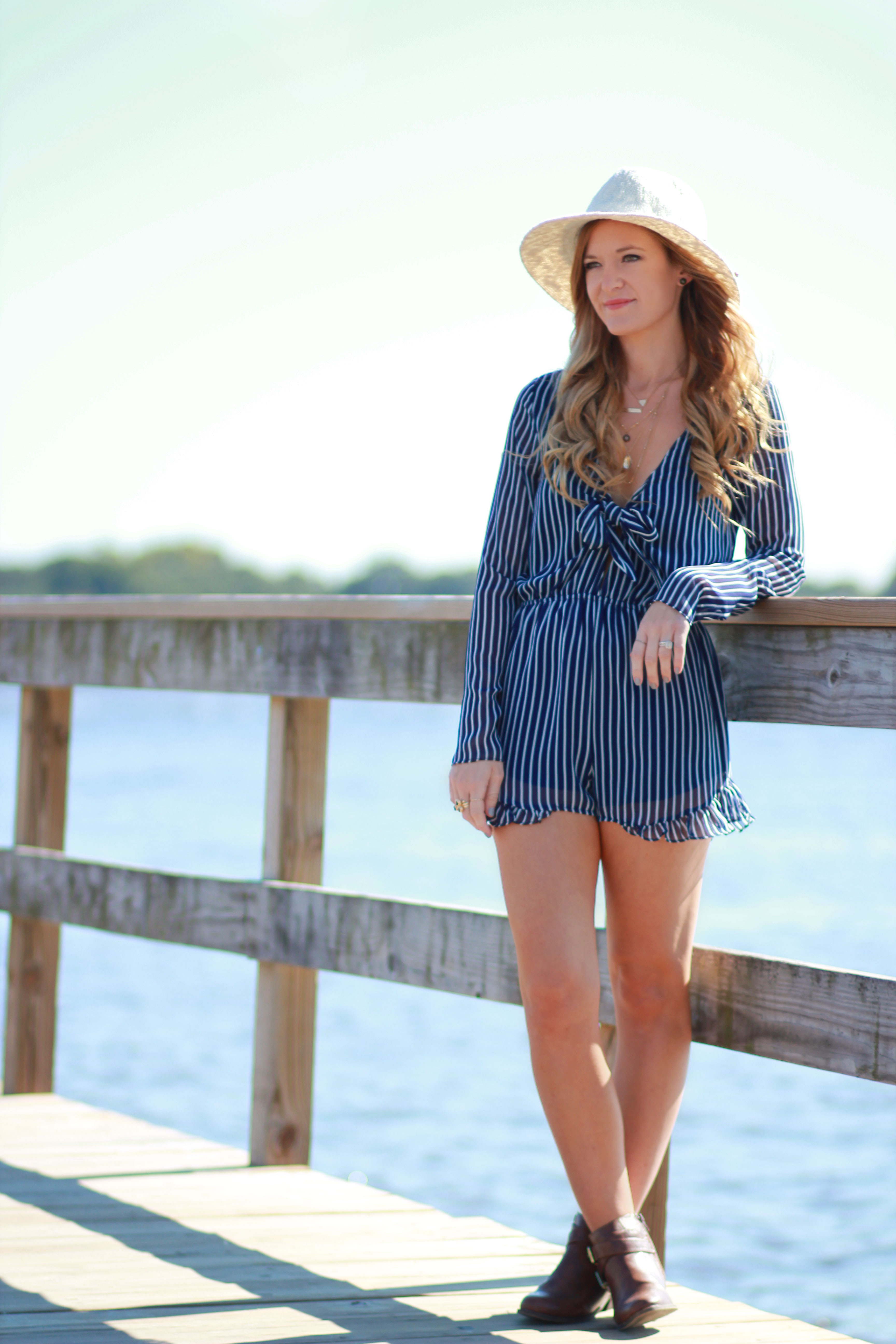 florida fashino blogger styles sugar love boutique striped romper with pacsun hat and jcpenney booties for a casual fall outfit