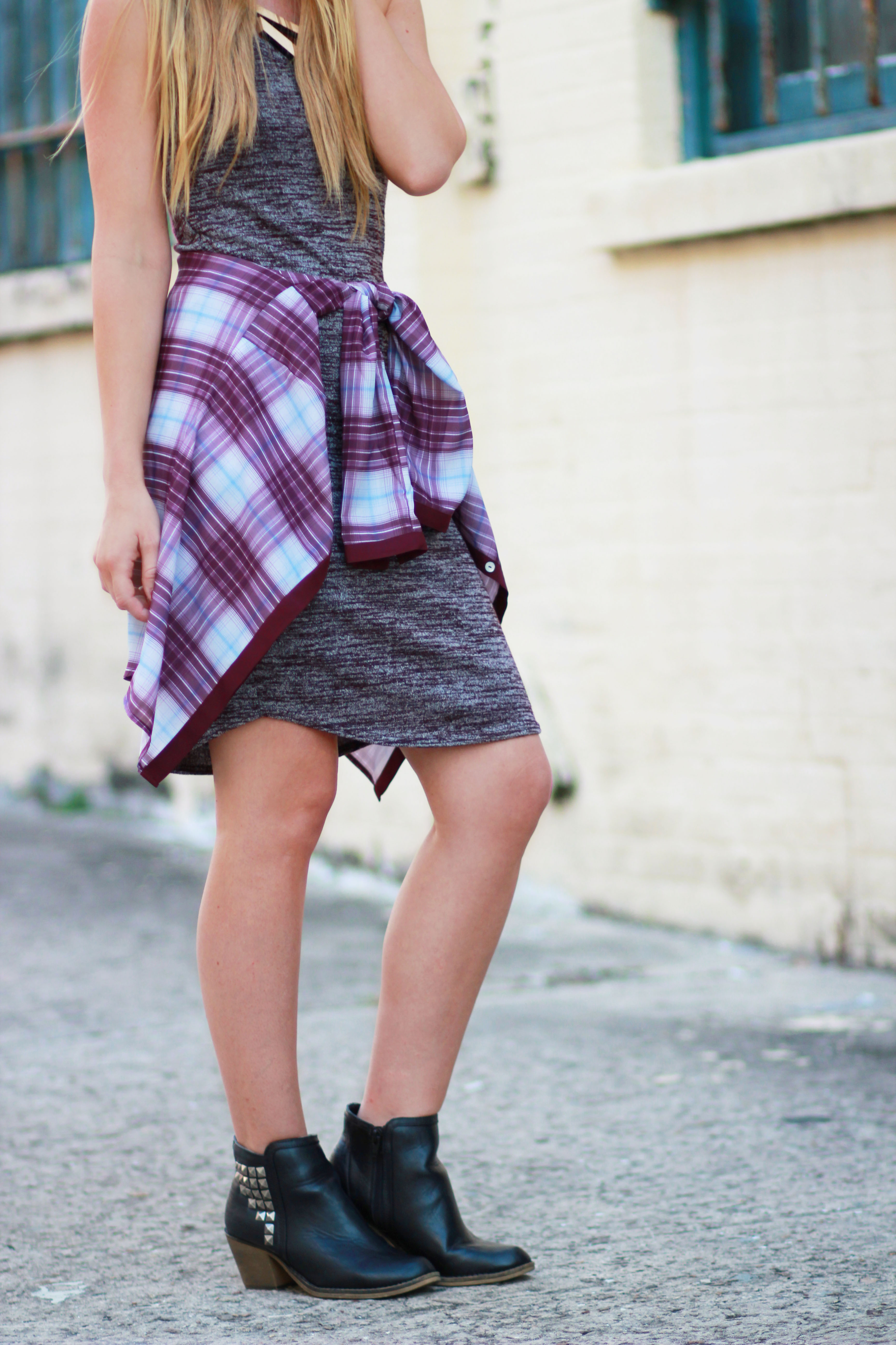 florida fashion blogger styles forever 21 midi dress with h&m plaid shirt, target booties, and target hat for a grunge fall outfit
