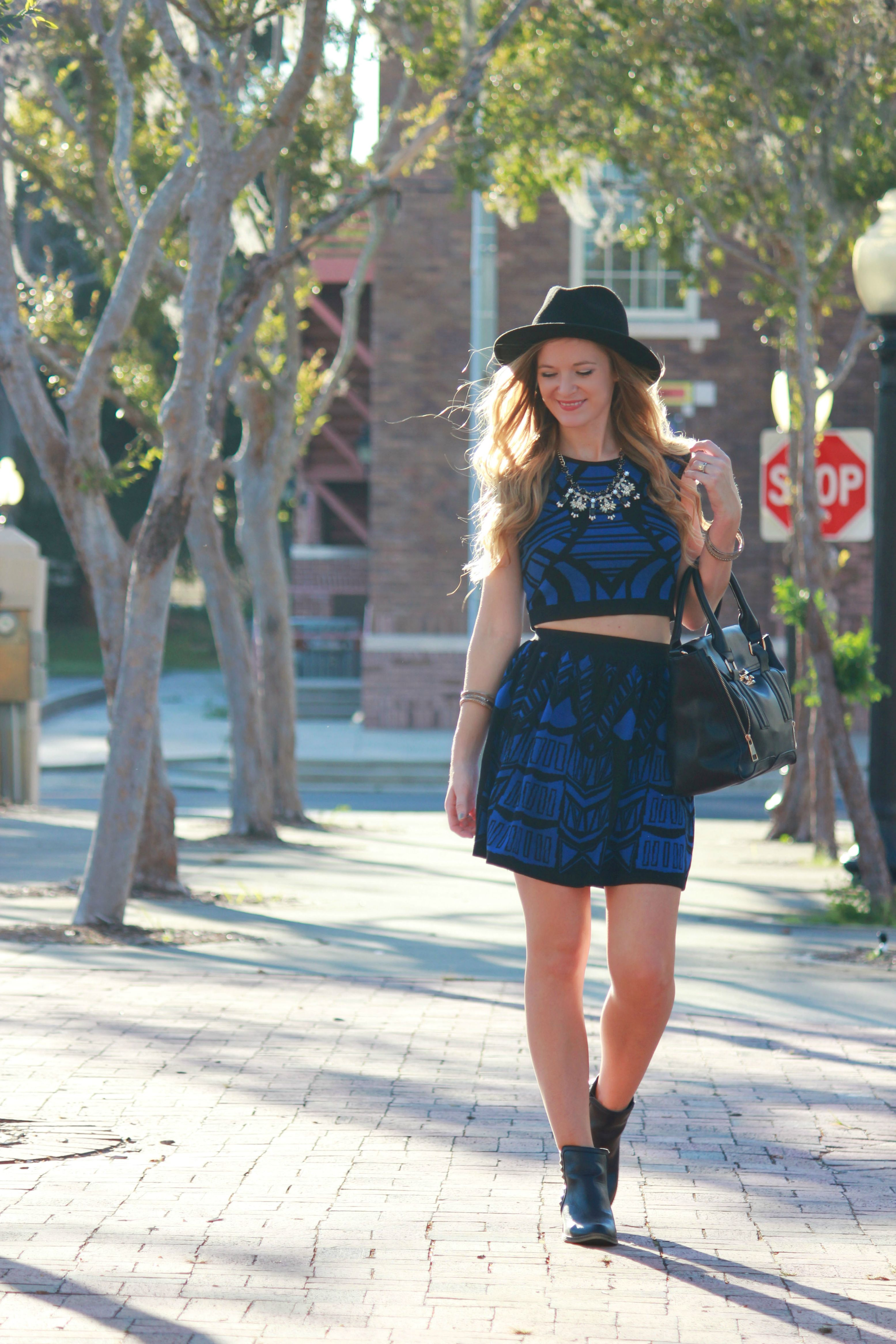 florida fashion blogger styles matching sweater set from sophie and trey with target booties and hat for a casual fall outfit