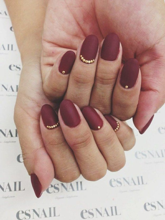 fall burgundy and gold matte nails