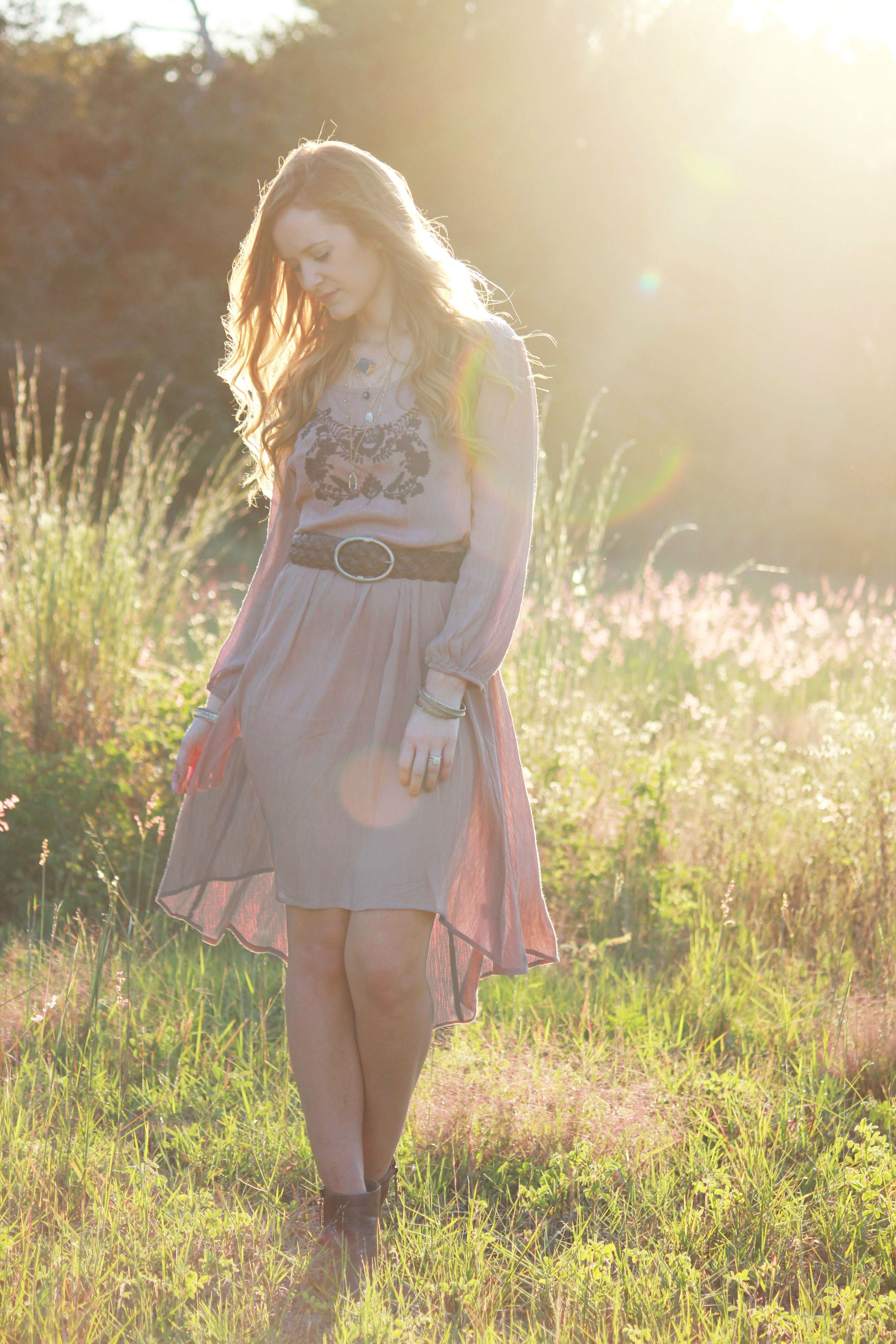 Florida fashion blogger styling pink blush boho dress with dsw booties for a fall outfit