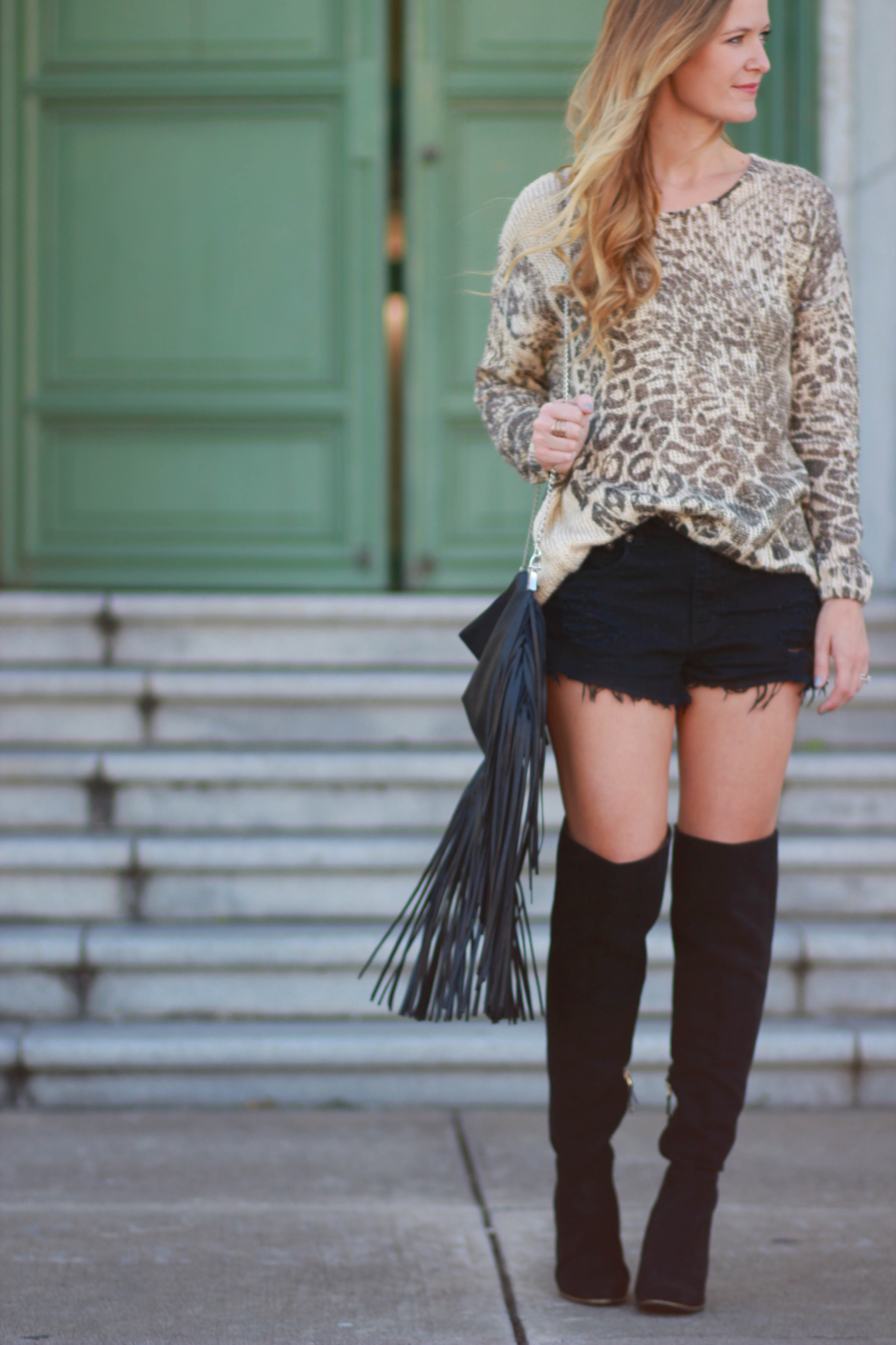 florida fashion blogger styles leopard sweater with target over the knee boots and h&m fringe bag for a stylish fall outfit