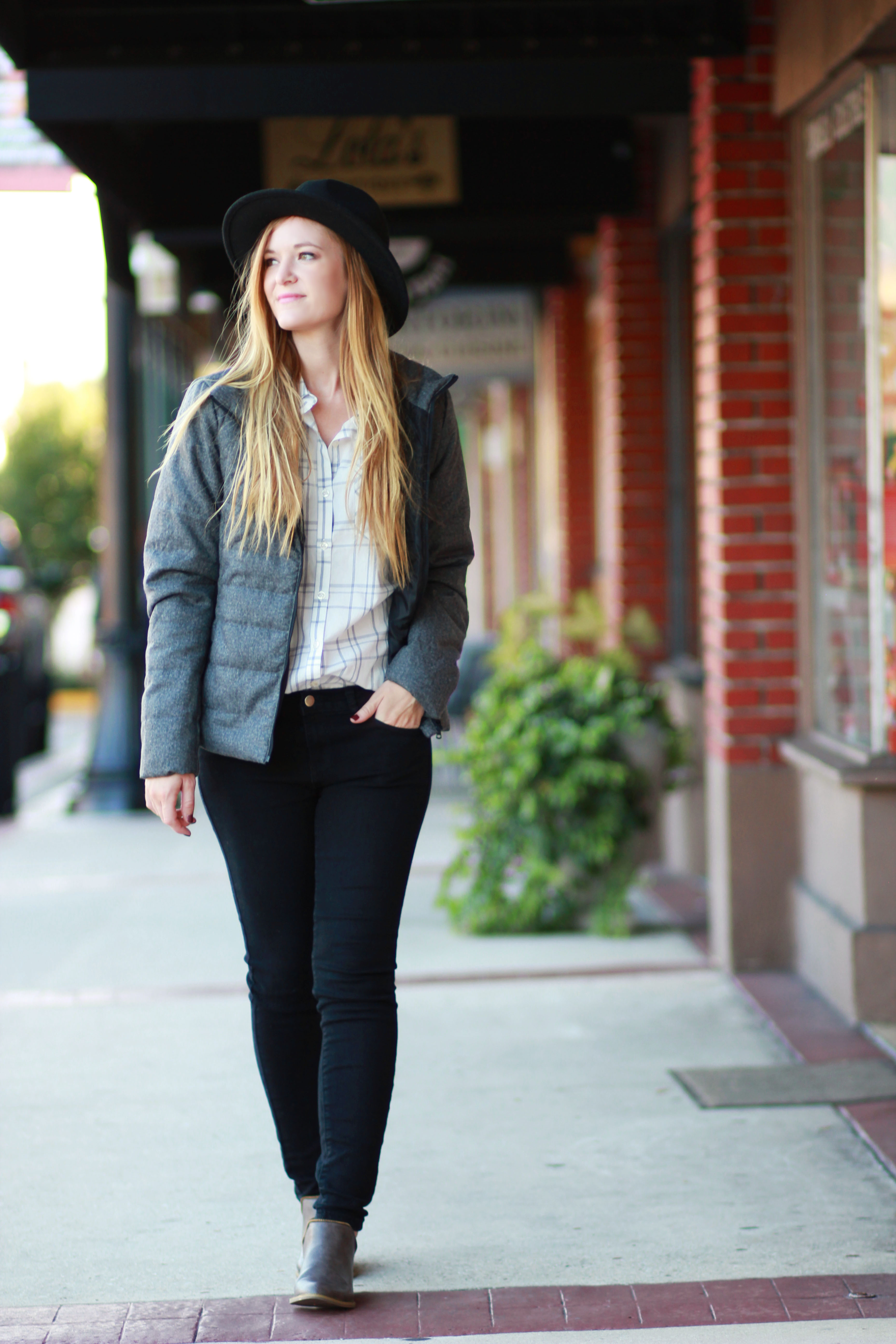 florida fashion blogger styles ps i adore you puffer jacket with forever 21 shirt, black pants and ankle booties for a casual fall outfit
