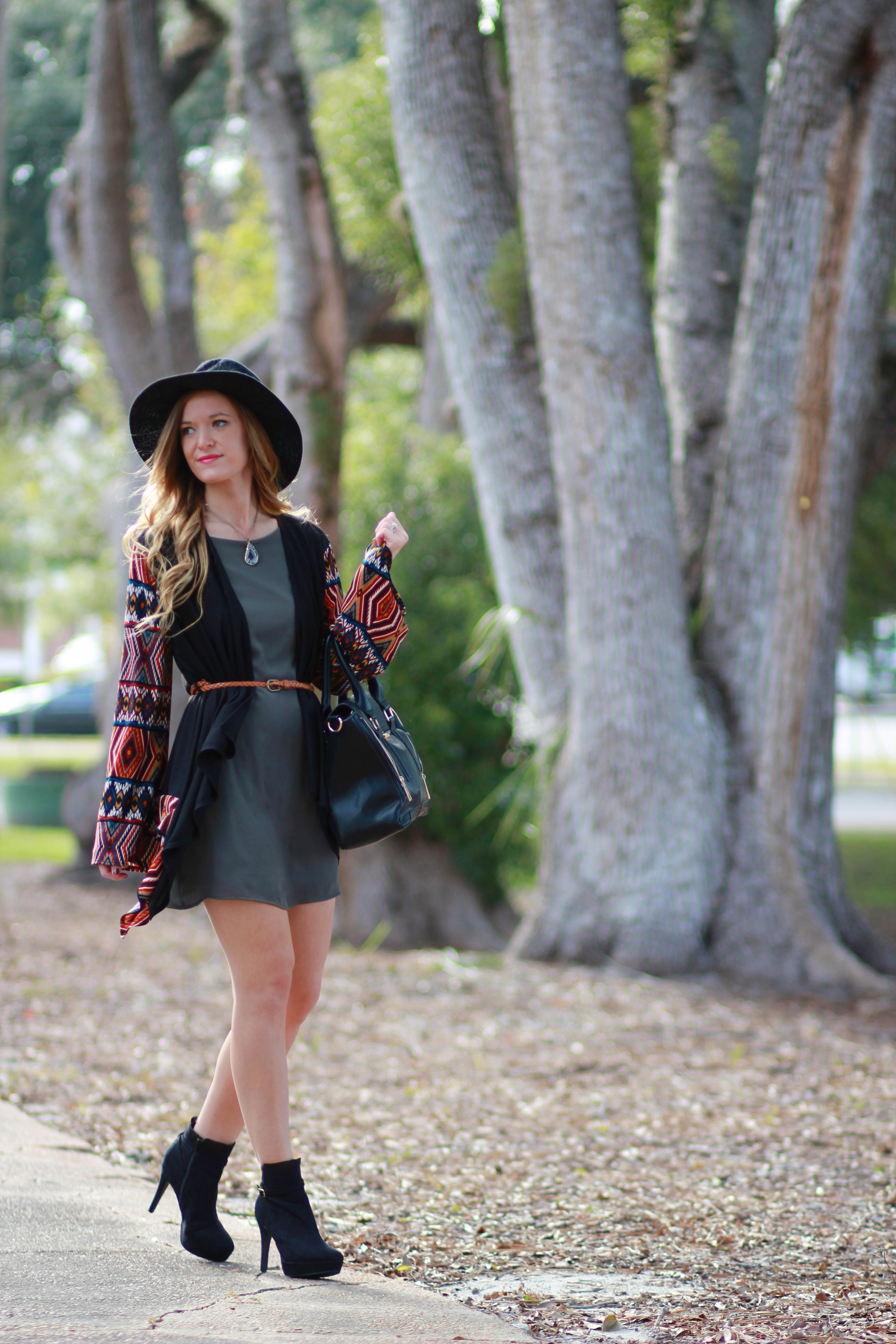 florida/ orlando fashion blogger styles copper peacock boutique aztec cardigan and green shift dress with free people hat and h&m booties for a casual fall outfit