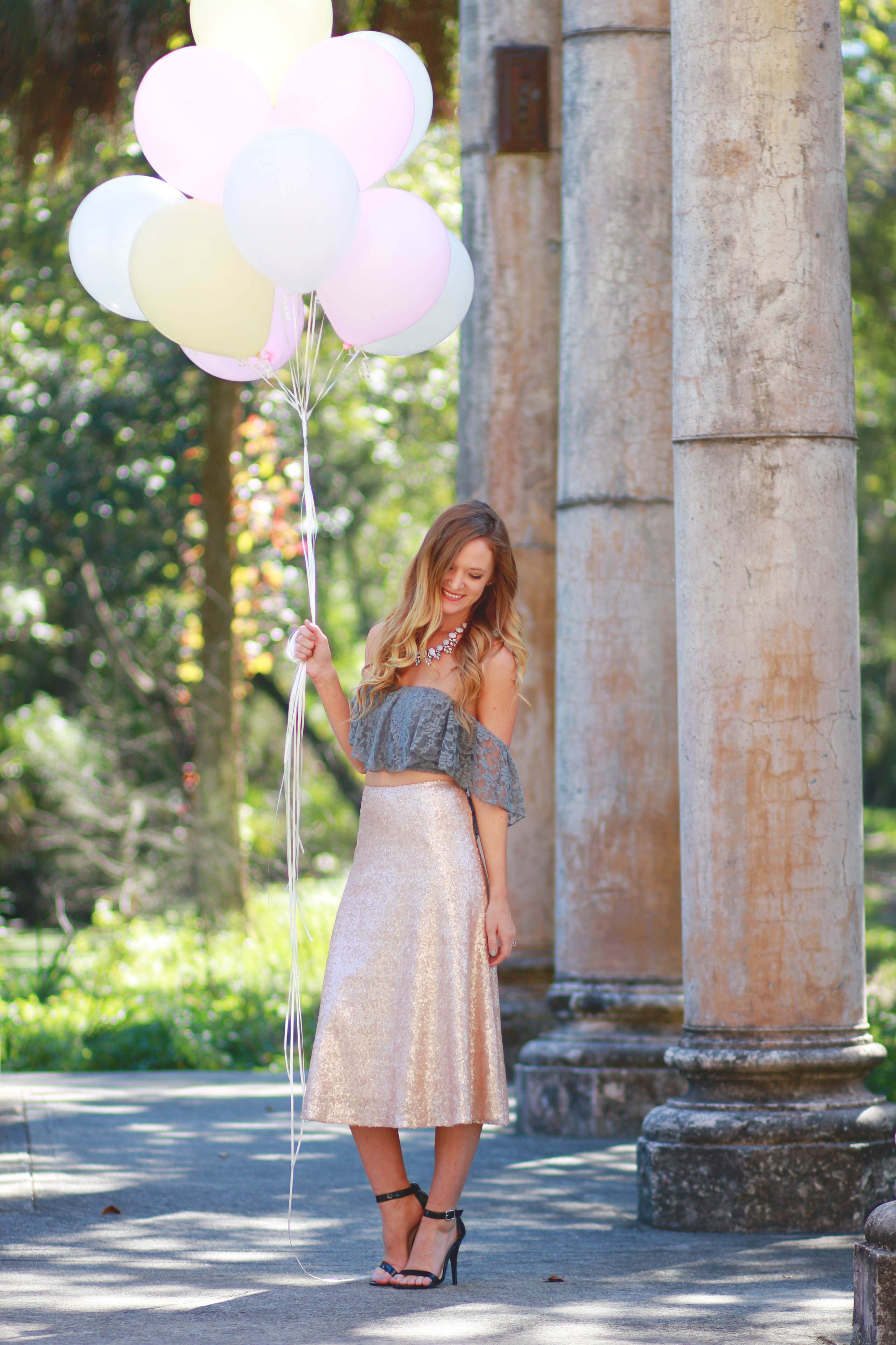 orlando/ florida fashion blogger styles saule boutique sequin midi skirt, hollister lace crop top and shamelessly sparkly necklace for a birthday outfit