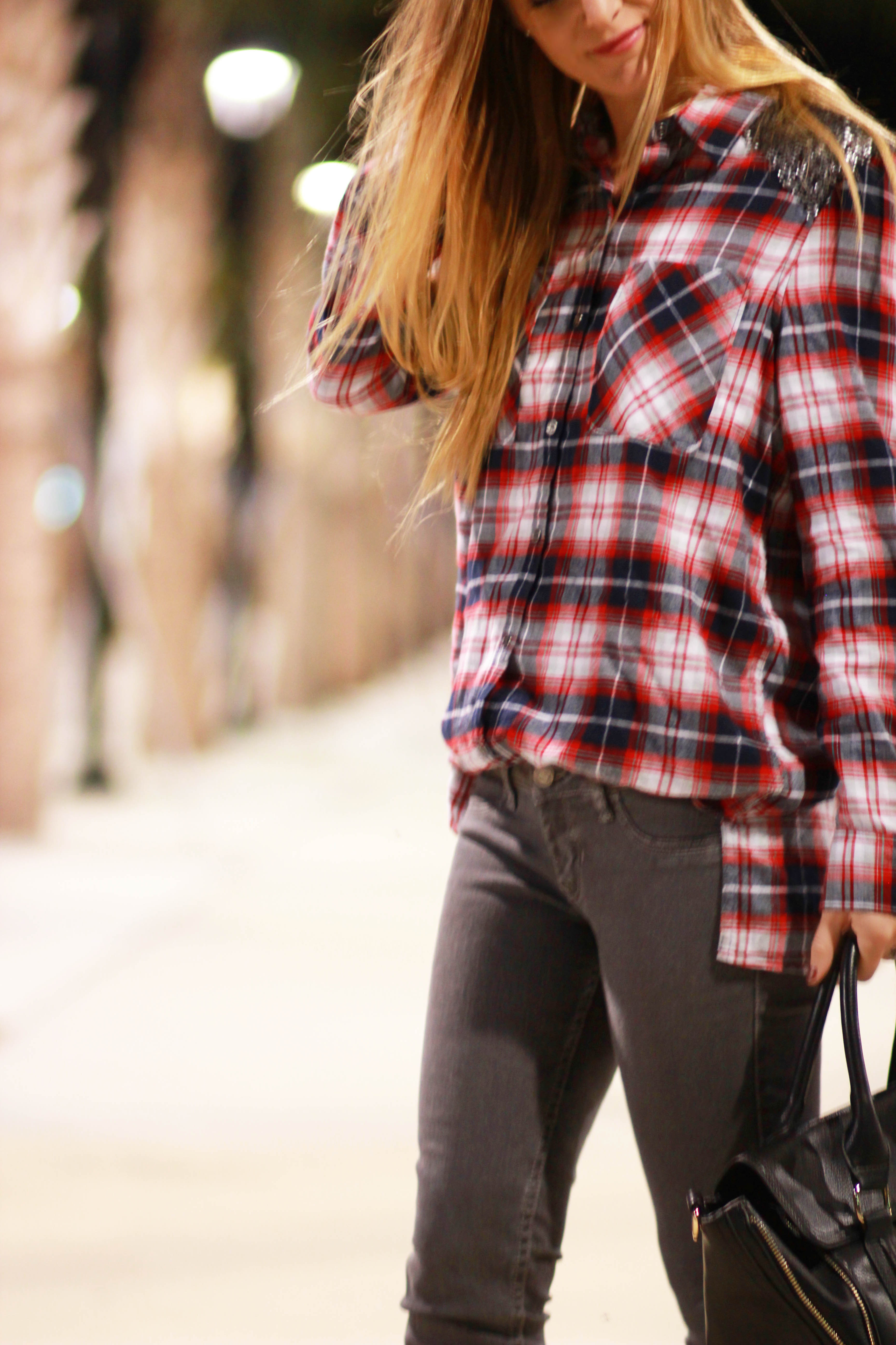 florida, orlando fashion blogger styles aeropostale plaid top with hollister grey jeans, and windsor lace up heels for a casual fall outfit
