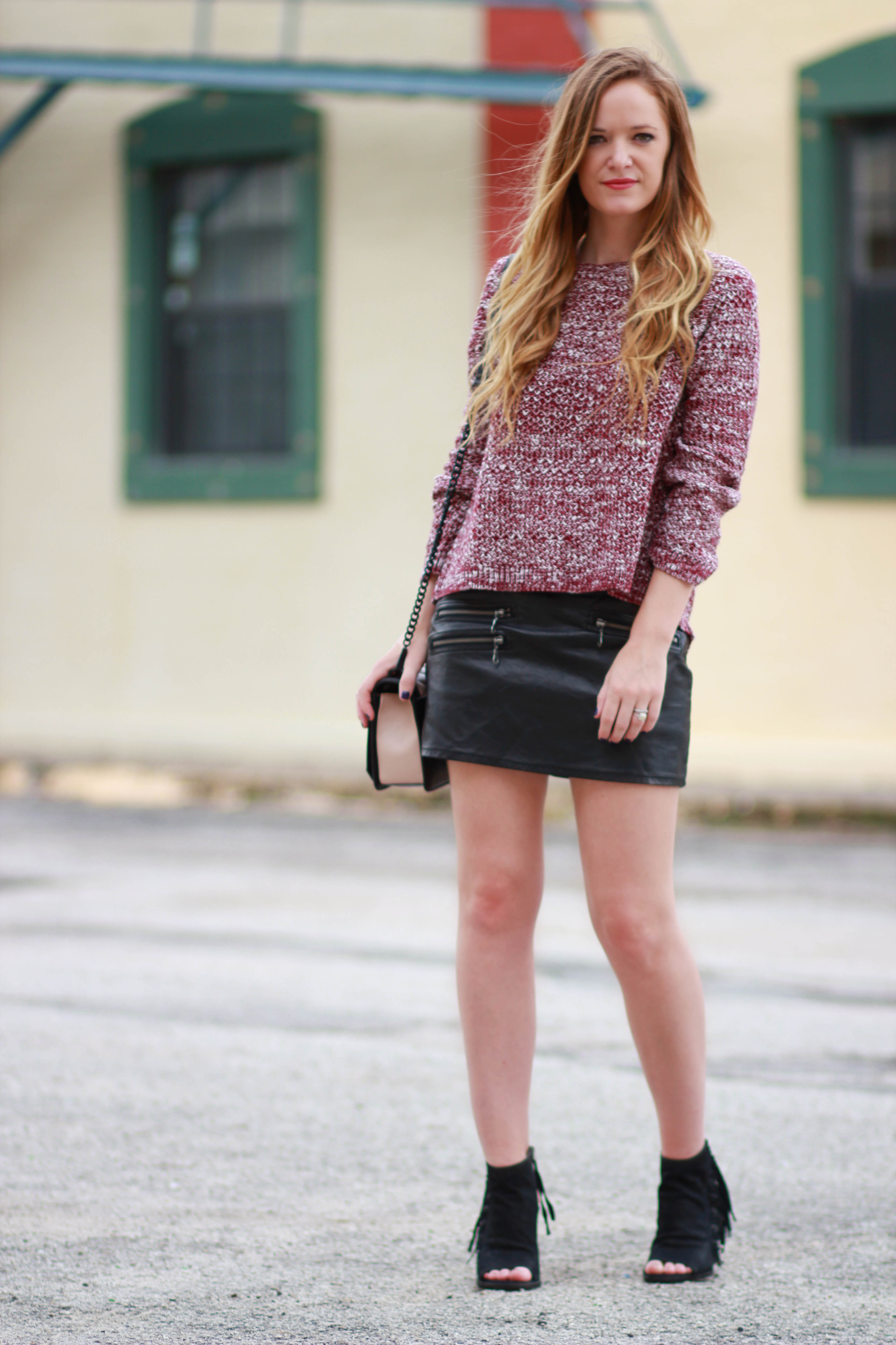 florida, orlando fashion blogger styles tobi sweater with forever 21 leather skirt, fringe dolce vita booties for a casual fall outfit