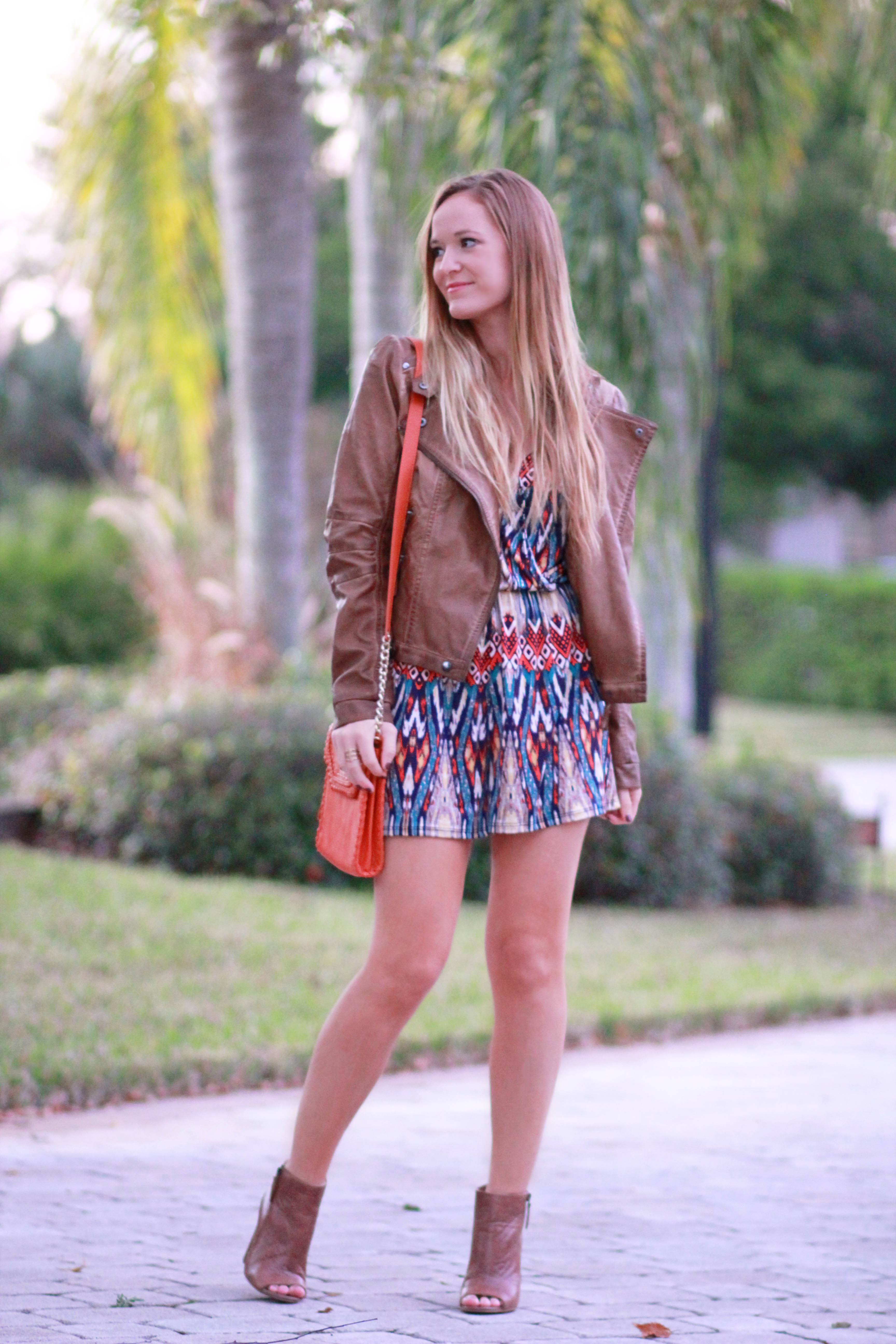 florida, orlando fashion blogger styles blush boutique romper, sugar love boutique jacket, and dsw booties for a casual fall outfit
