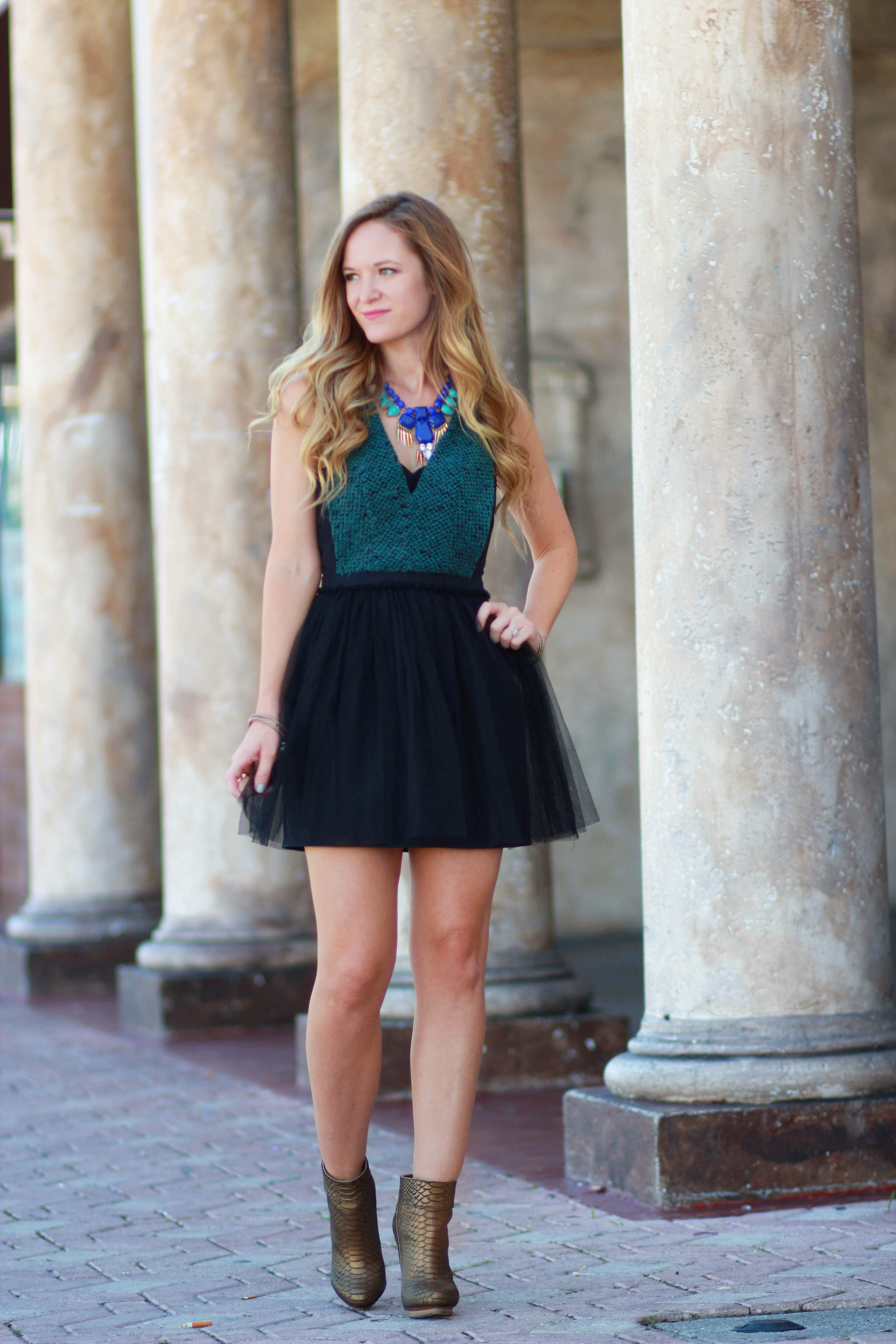 florida/ orlando fashion blogger styles tulle bcbgeneration dress and tjmaxx booties for a party outfit
