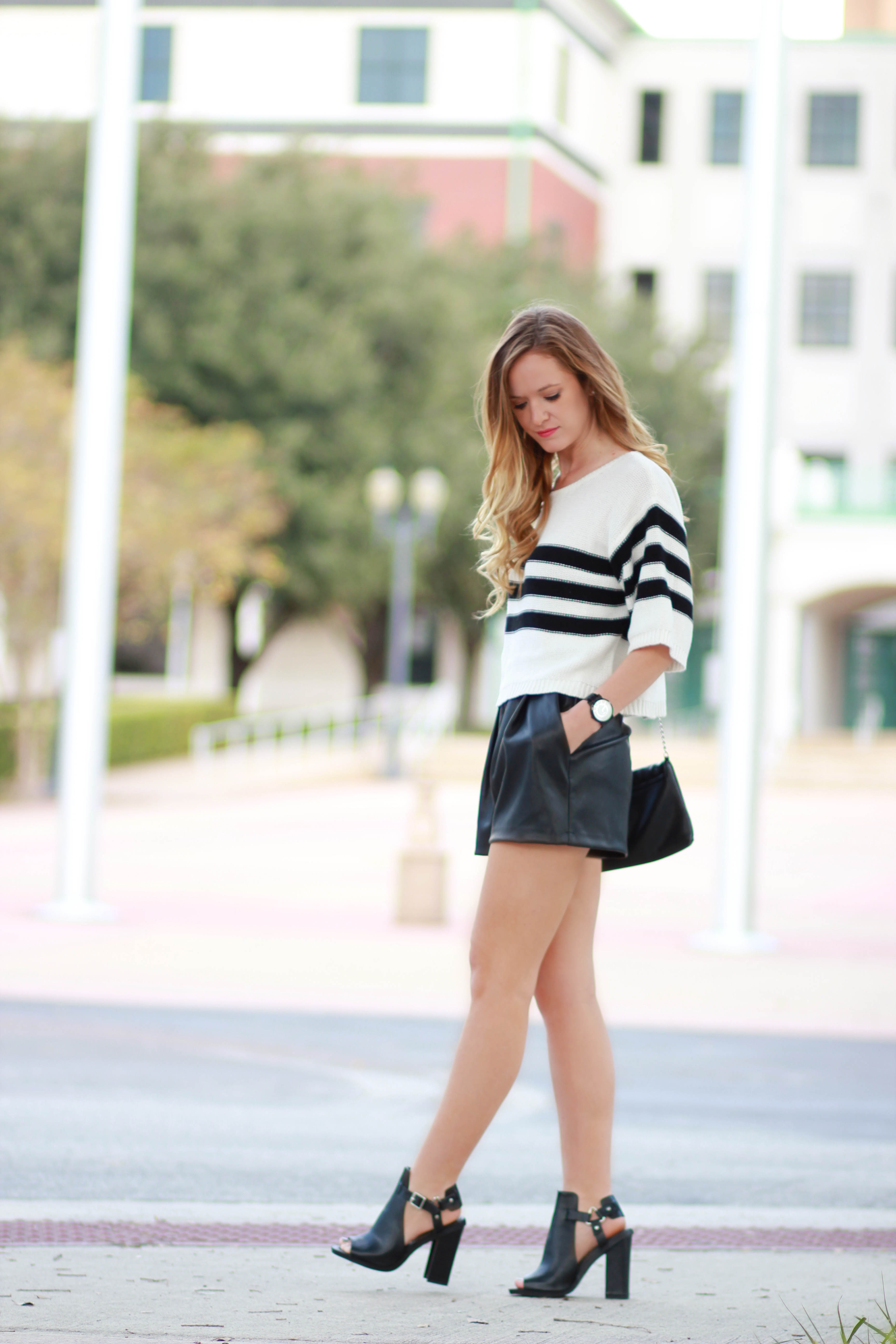 florida/ orlando fashion blogger styles tobi sweater with h&m leather shorts and windsor booties for a casual fall outfit