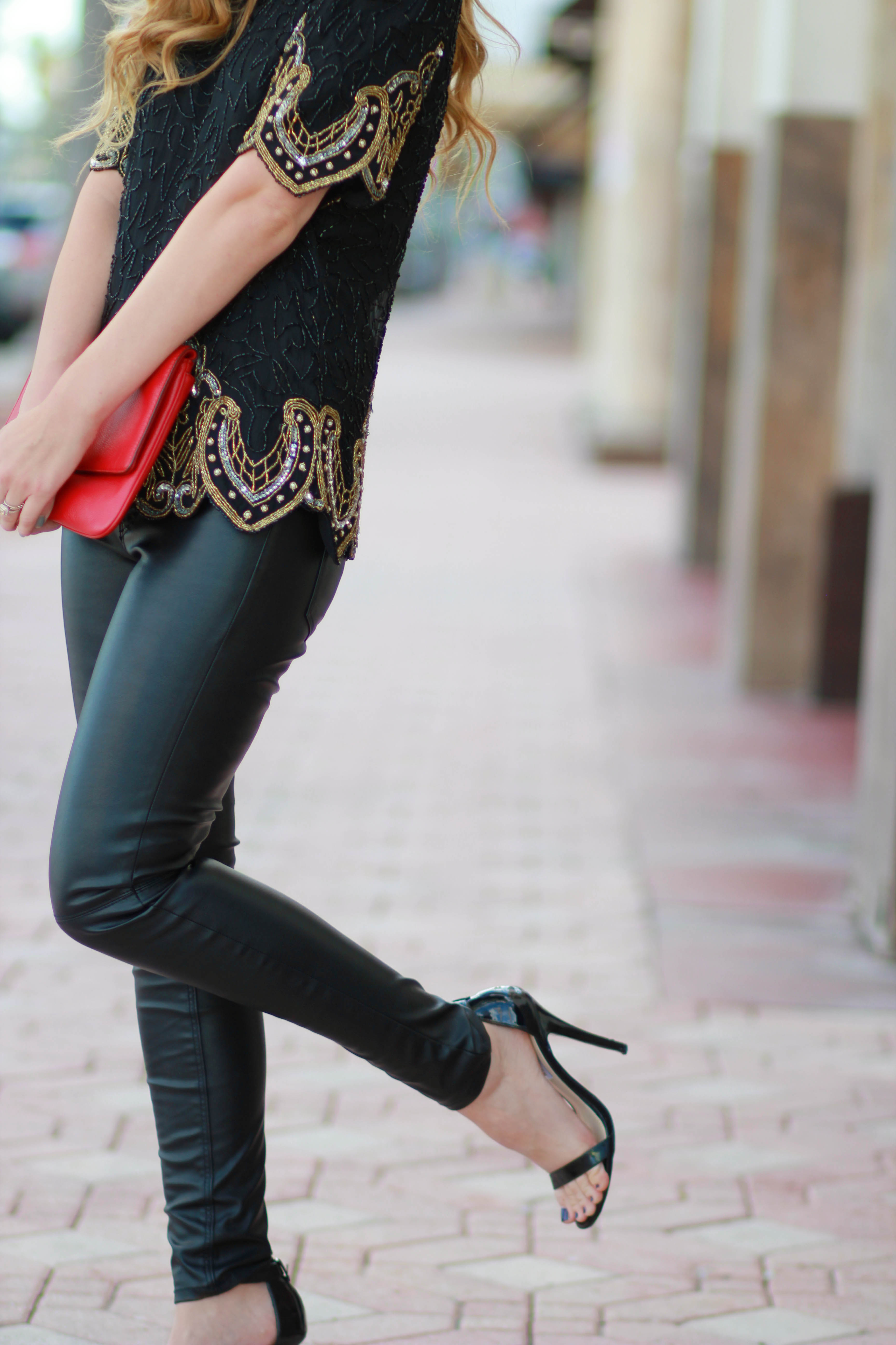 florida, orlando style blogger styles holiday 2014 outfit with vintage sequin top, h&m leather pants, and steve madden heels