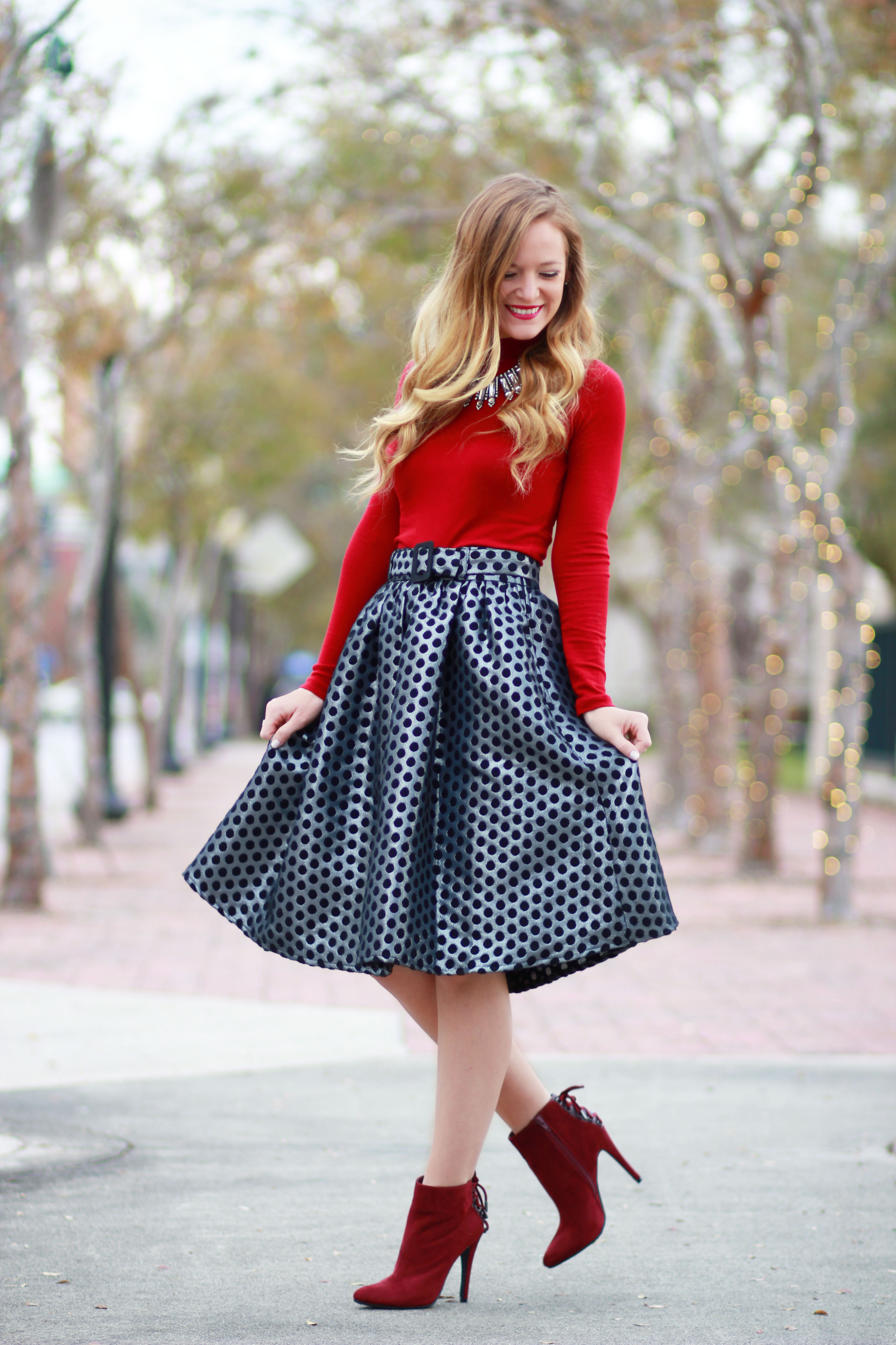 orlando, florida fashion blogger styles eshakti skirt, forever 21 top, sugarpair booties for a holiday outfit