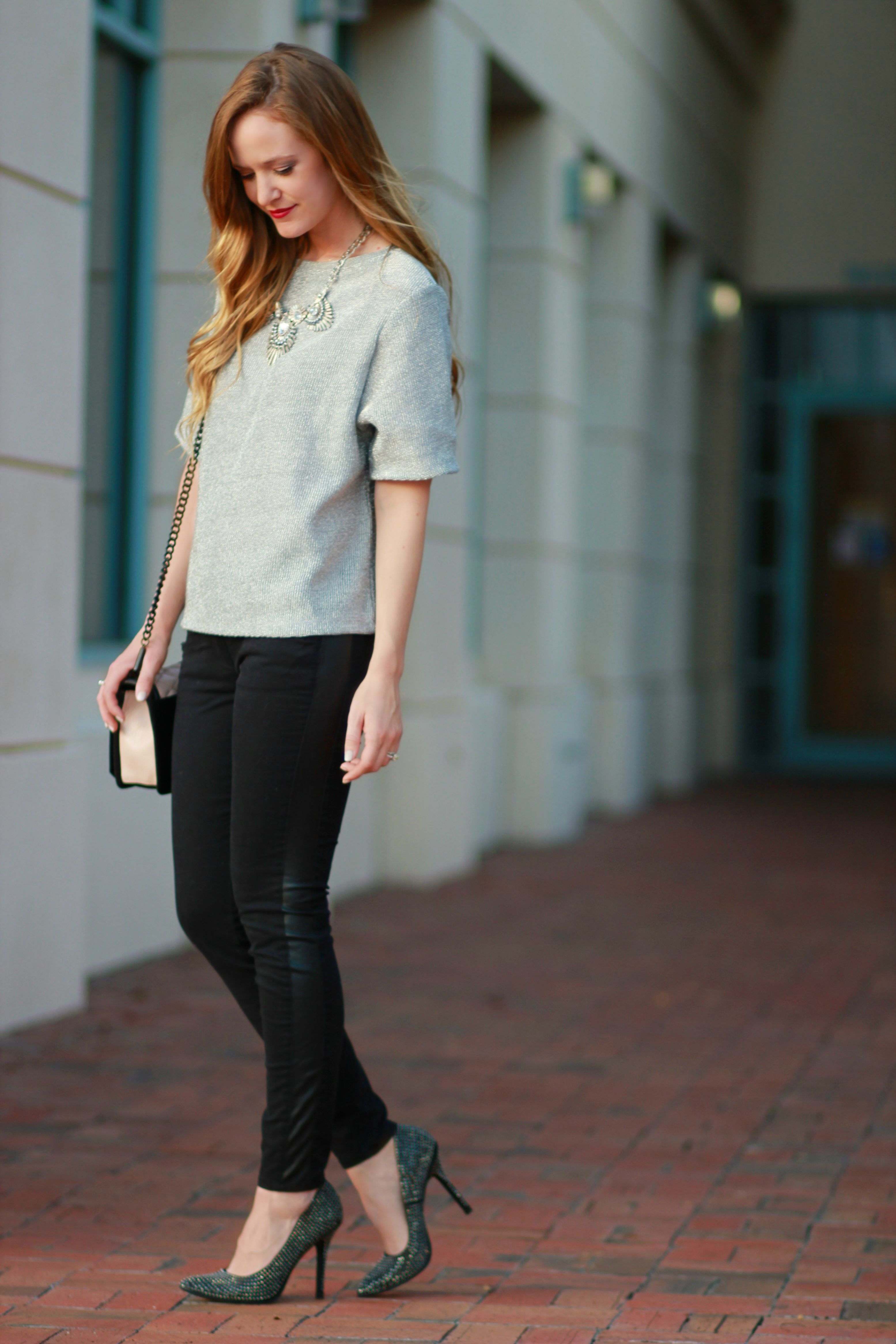 orlando, florida fashion blogger styles new years eve outfit inspiration with h&M top, loft leather pants, and rebecca minkoff crossbody